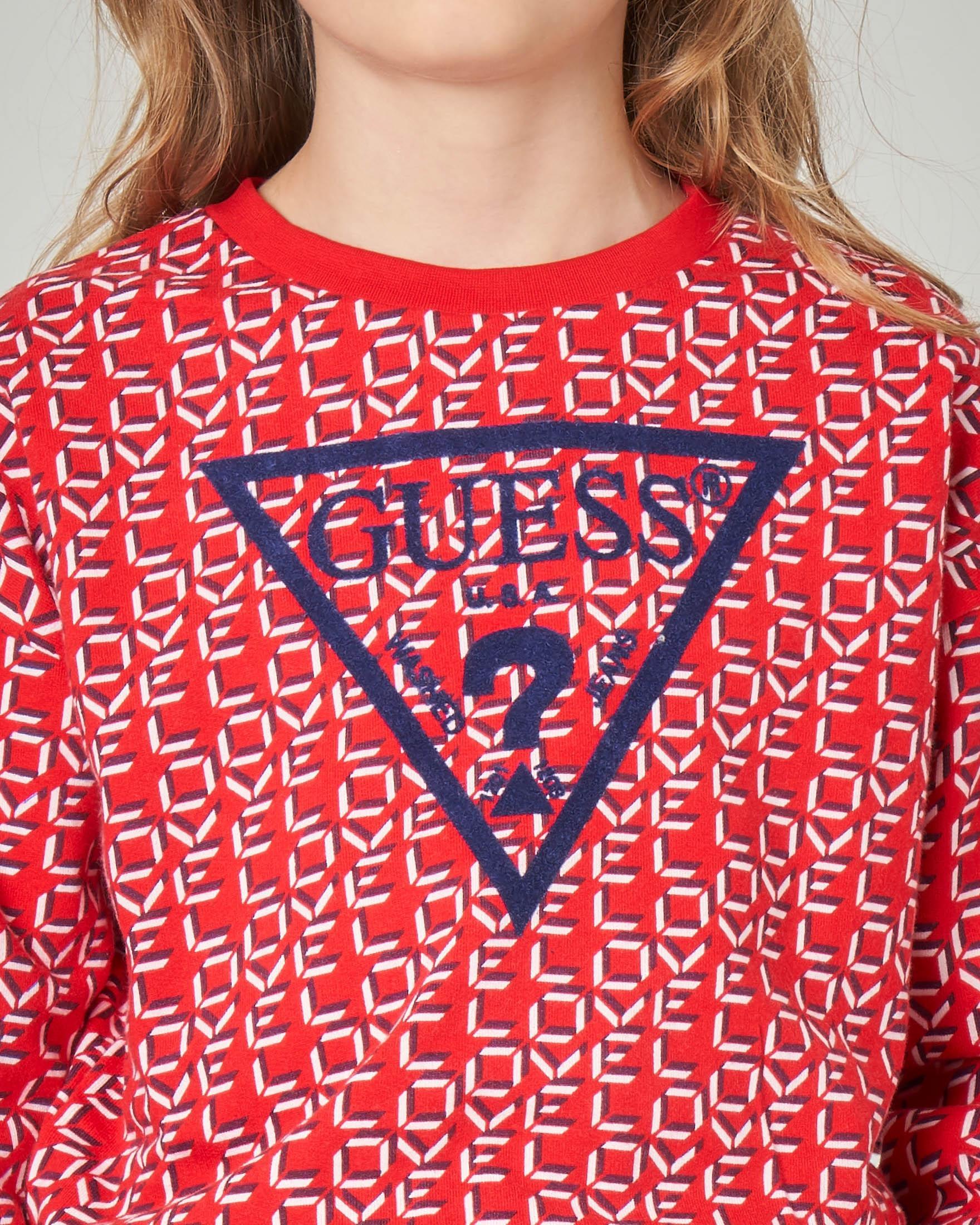 Felpa rossa con scritta Love all over e logo triangolo 8-16 anni