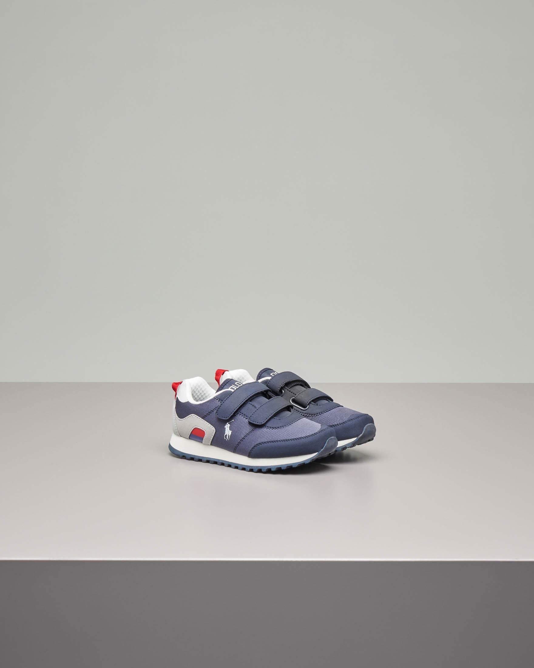 Sneakers running blu con chiusura a strappo 21-26