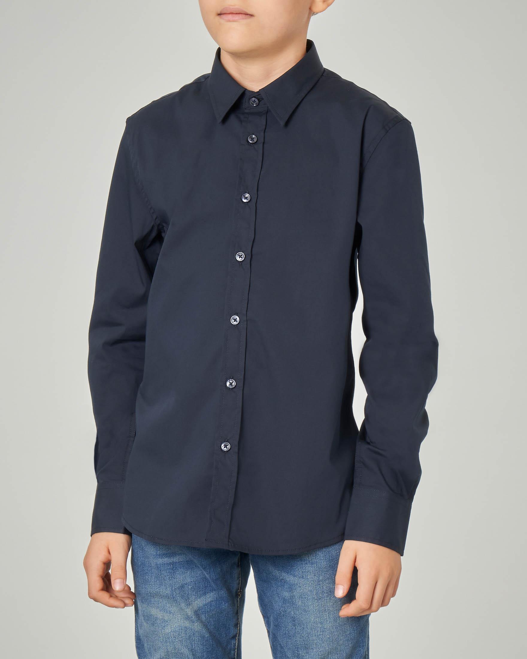 Camicia blu in cotone stretch 8-16 anni