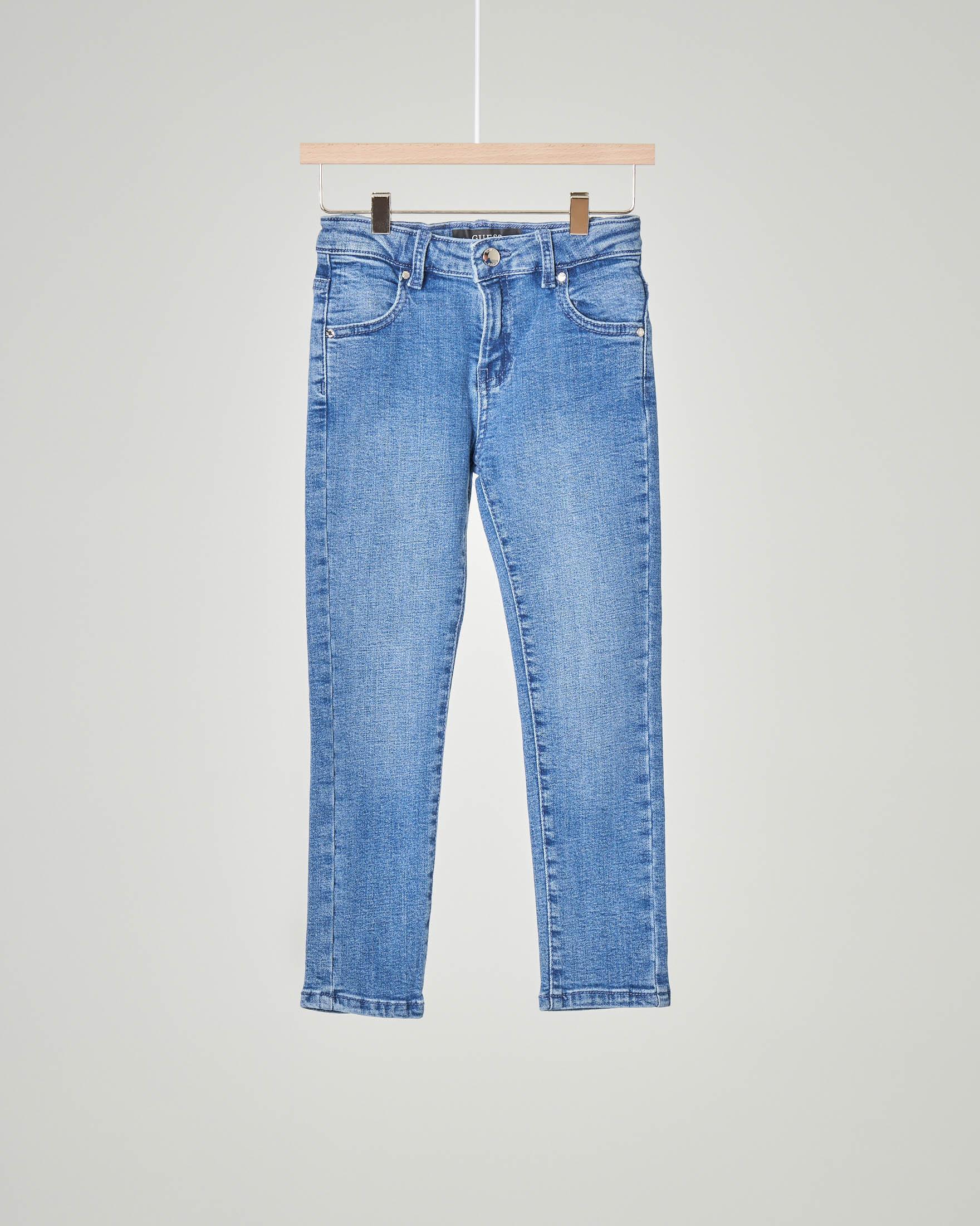 Jeans lavaggio chiaro in cotone elasticizzato 2-7 anni