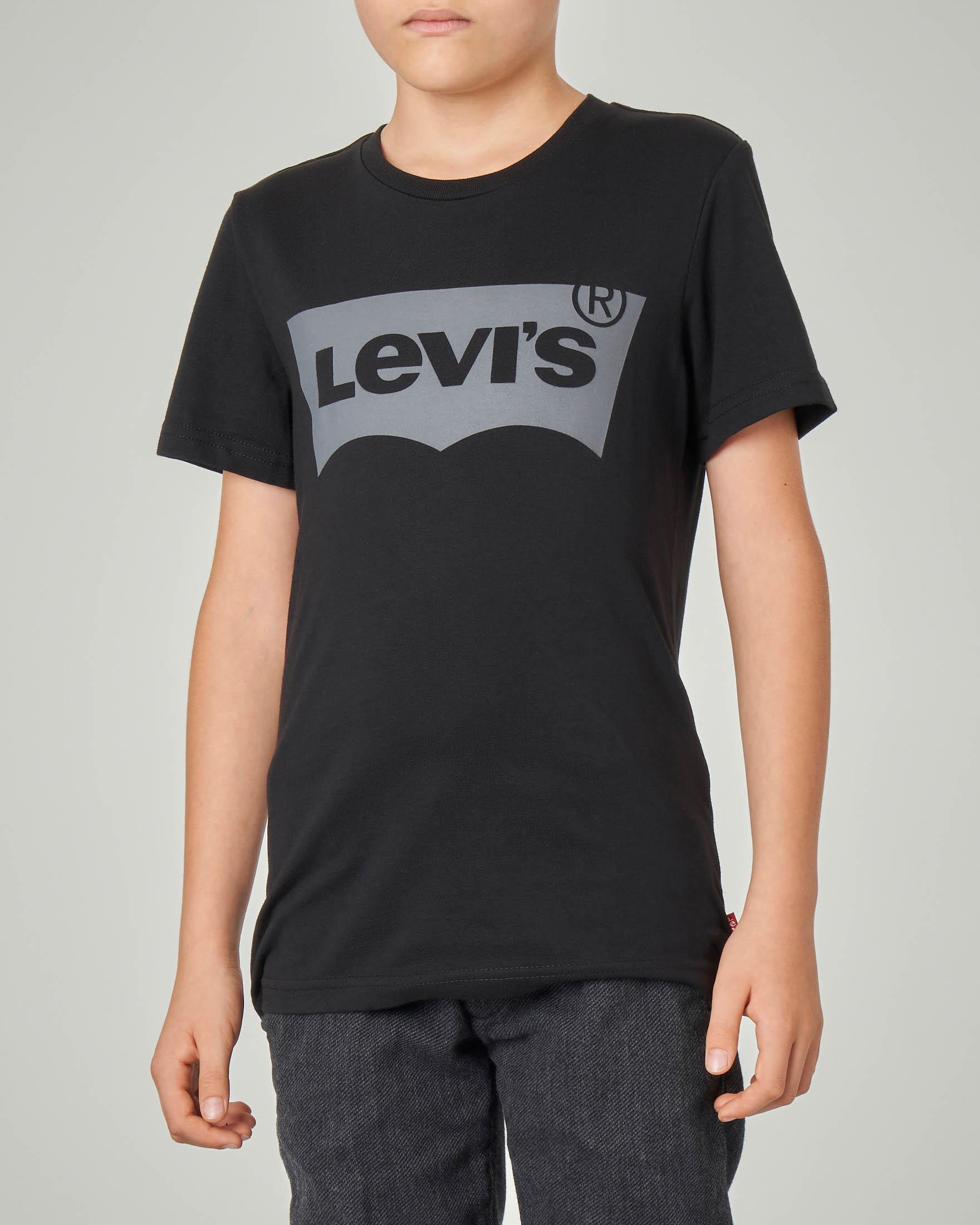 T-shirt nera mezza manica con logo batwing grigio 10-16 anni