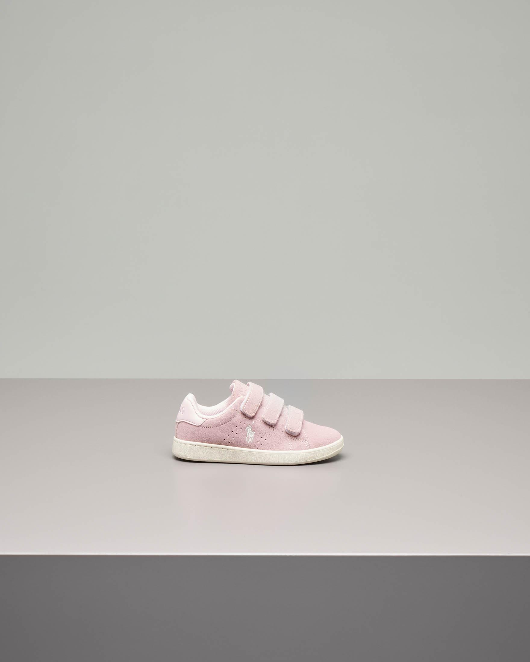 Sneakers rosa in pelle scamosciata con chiusura a strappo 27-34
