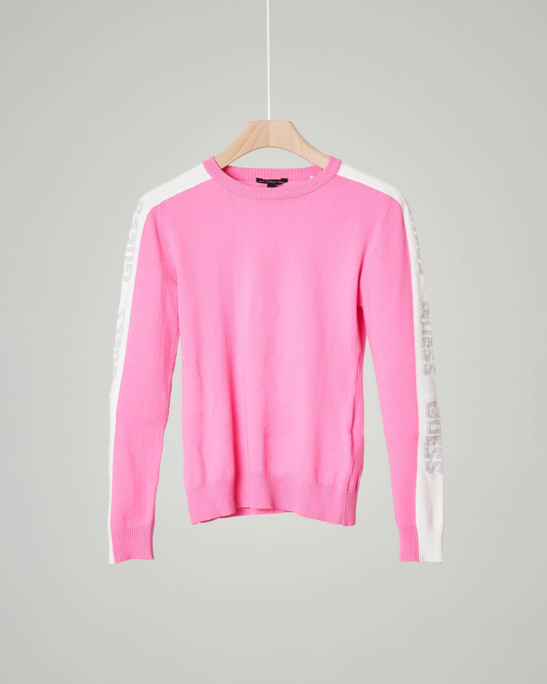 Maglia rosa girocollo con bande bianche e logo glitter 8-16 anni
