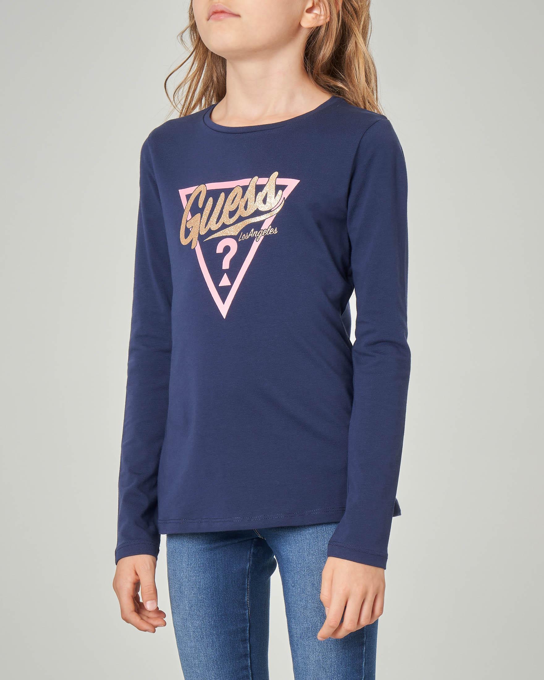 T-shirt blu manica lunga con logo glitter oro e triangolo rosa 10-16 anni