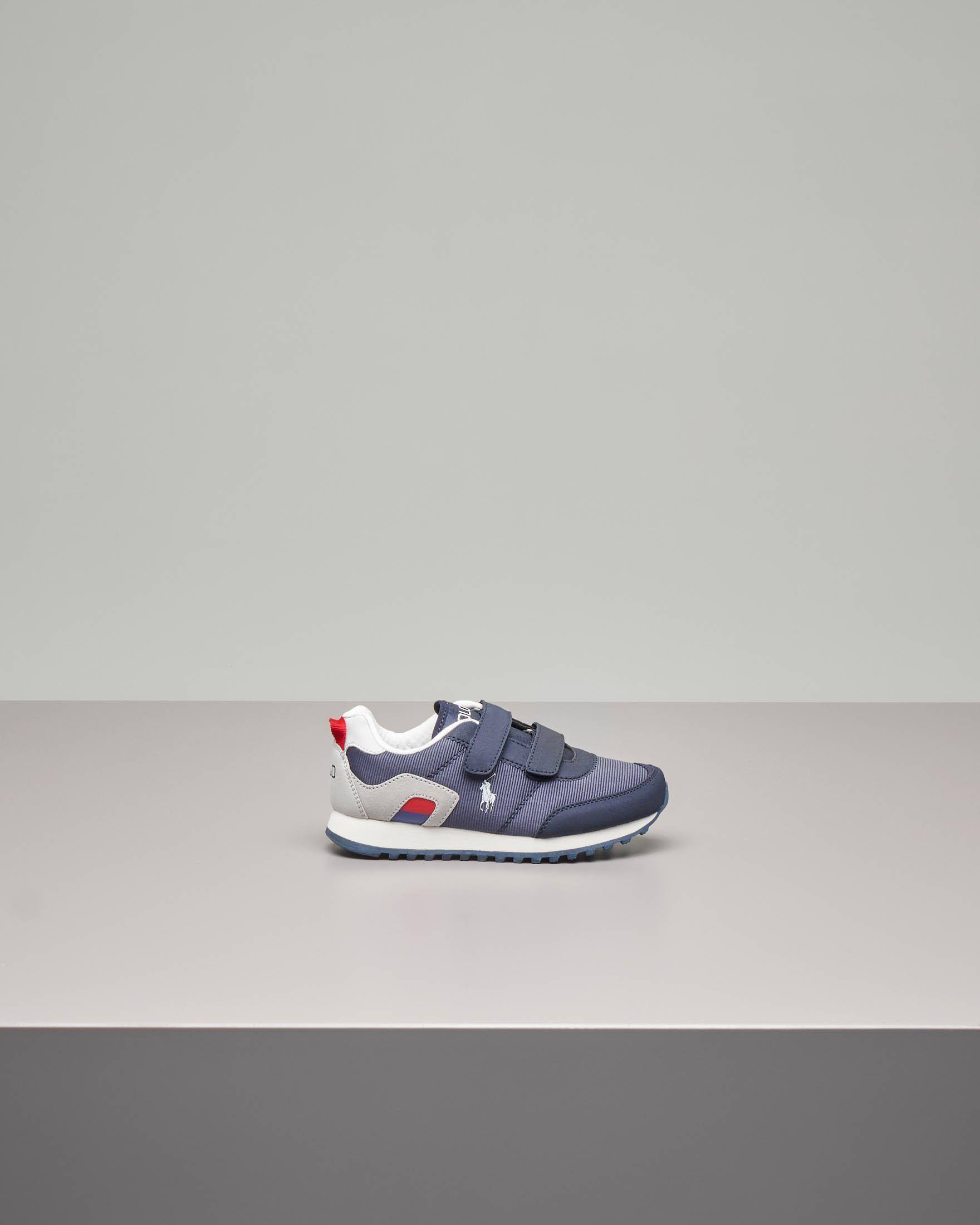 Sneakers running blu con chiusura a strappo 27-34