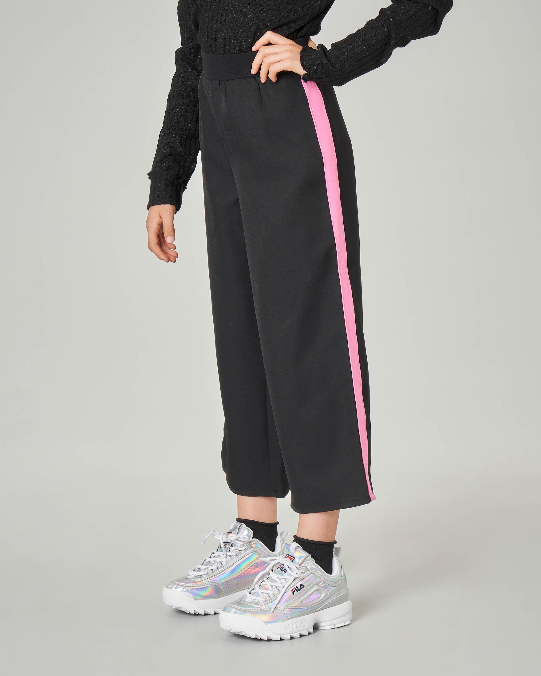 Pantalone nero palazzo con banda rosa 8-16 anni