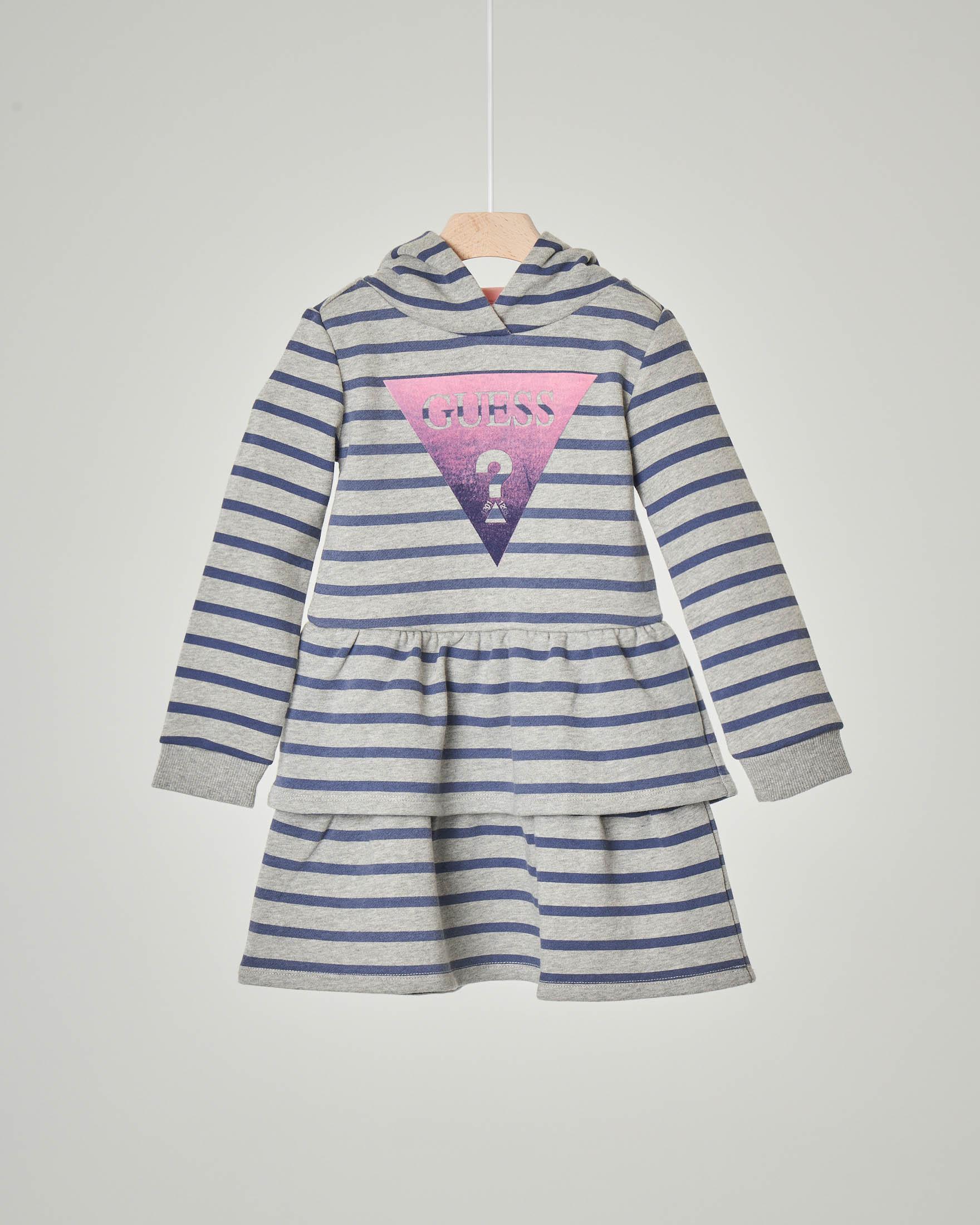 Abito grigio a righe blu in jersey con cappuccio e balza in vita 3-7 anni