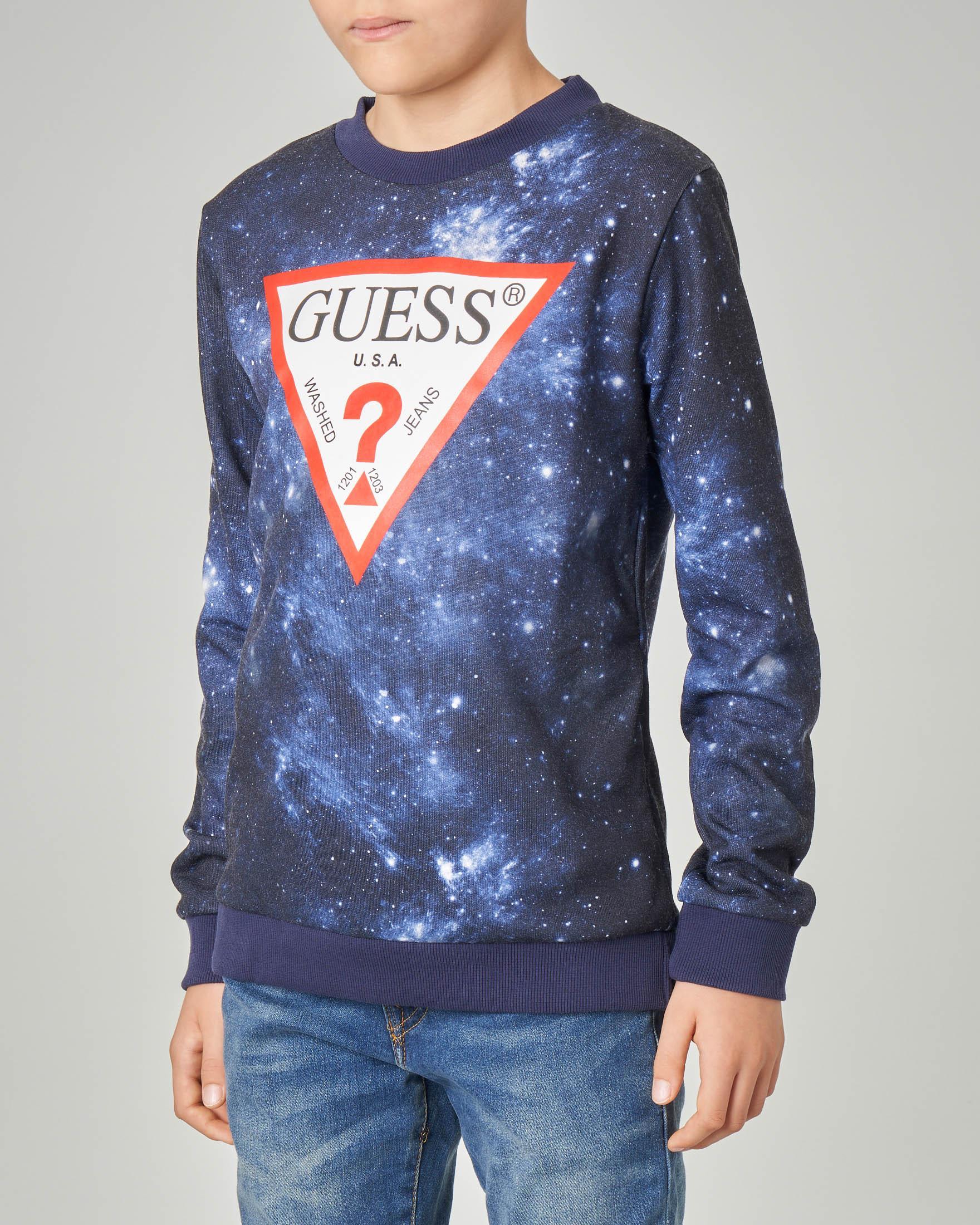 Felpa blu stampa universo e logo triuangolo 8-14 anni