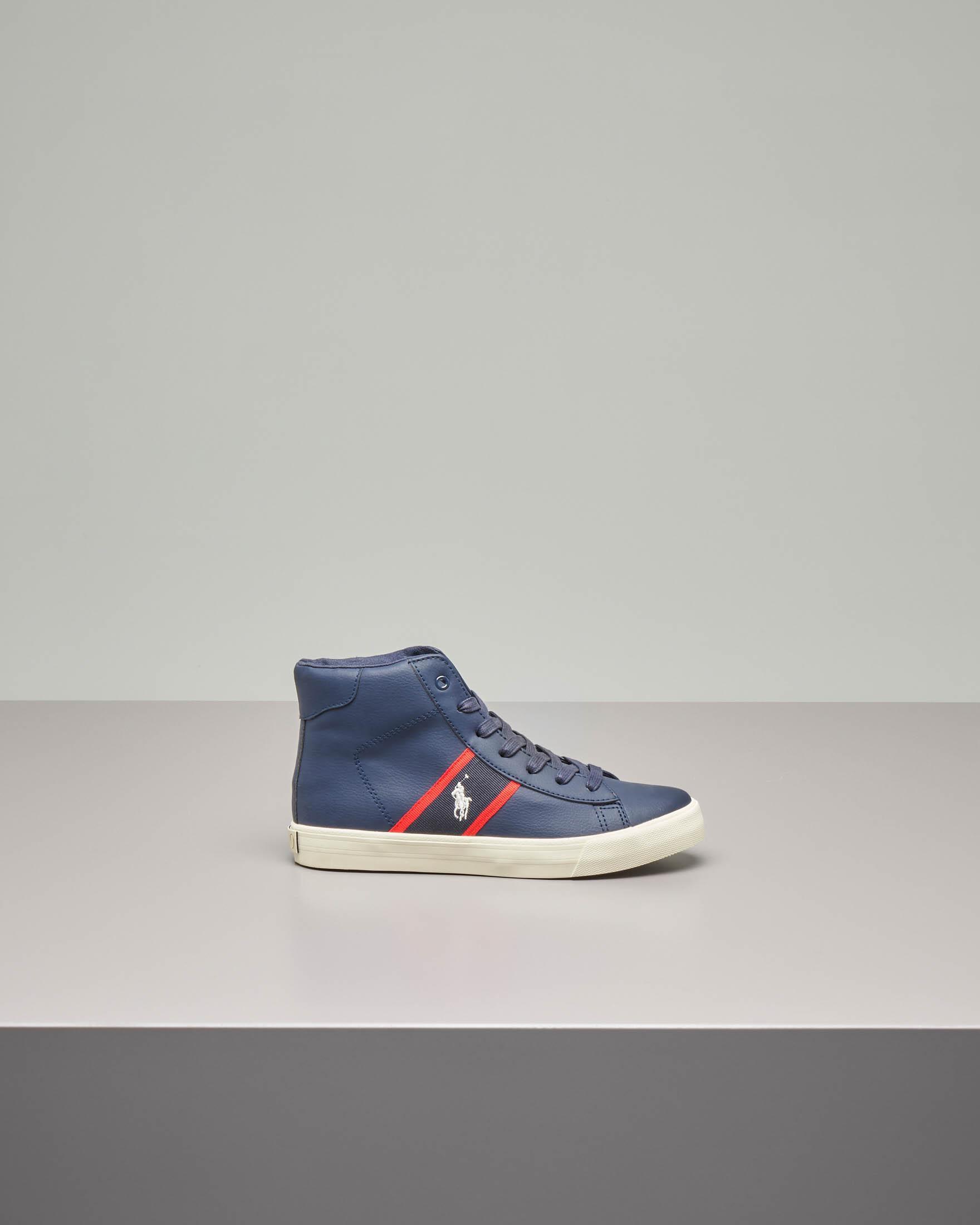 Sneakers alte blu in pelle con logo pony ricamato 35-39