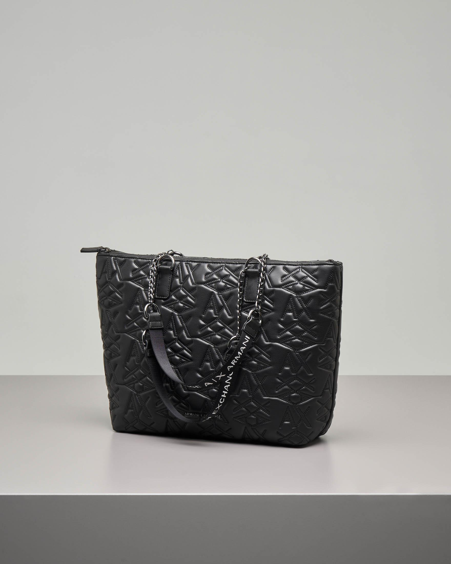 Shopping bag in ecopelle nera con scritta logo quilted all over