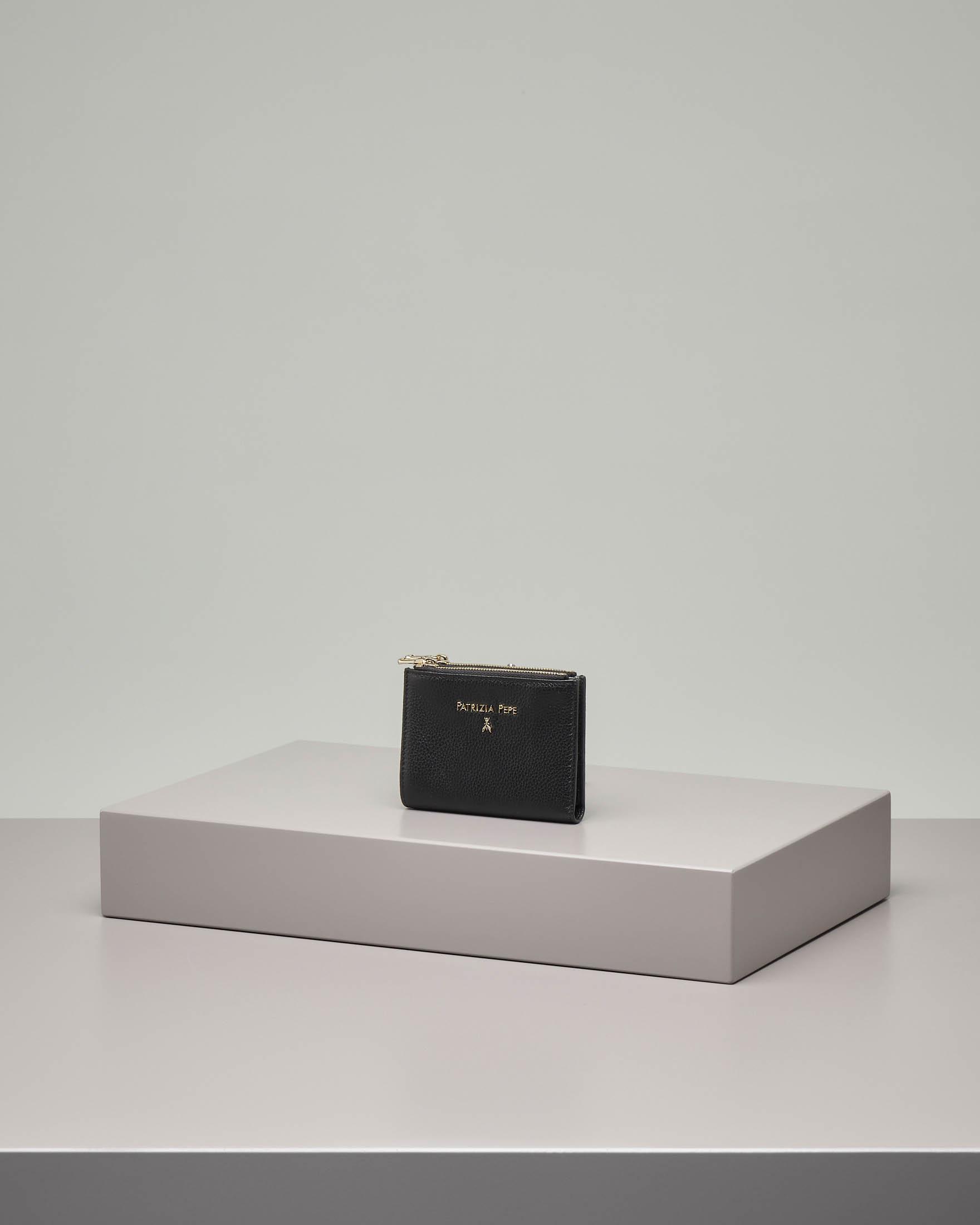 Portafoglio continental nero misura piccola in pelle effetto martellato