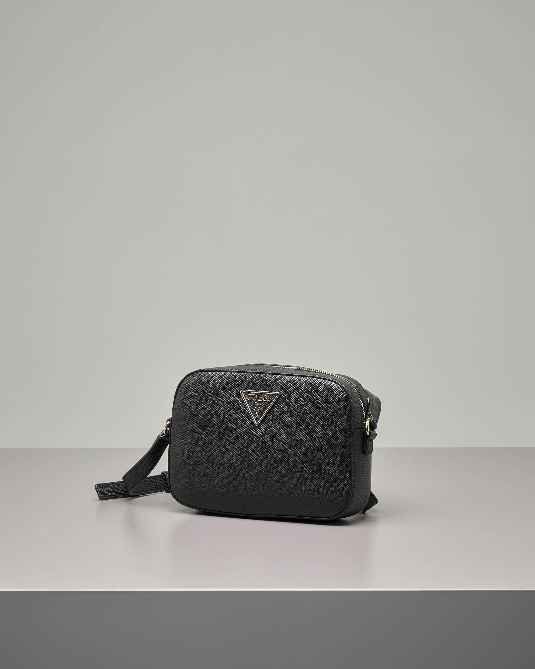 Cross bag piccola nera in ecopelle effetto saffiano