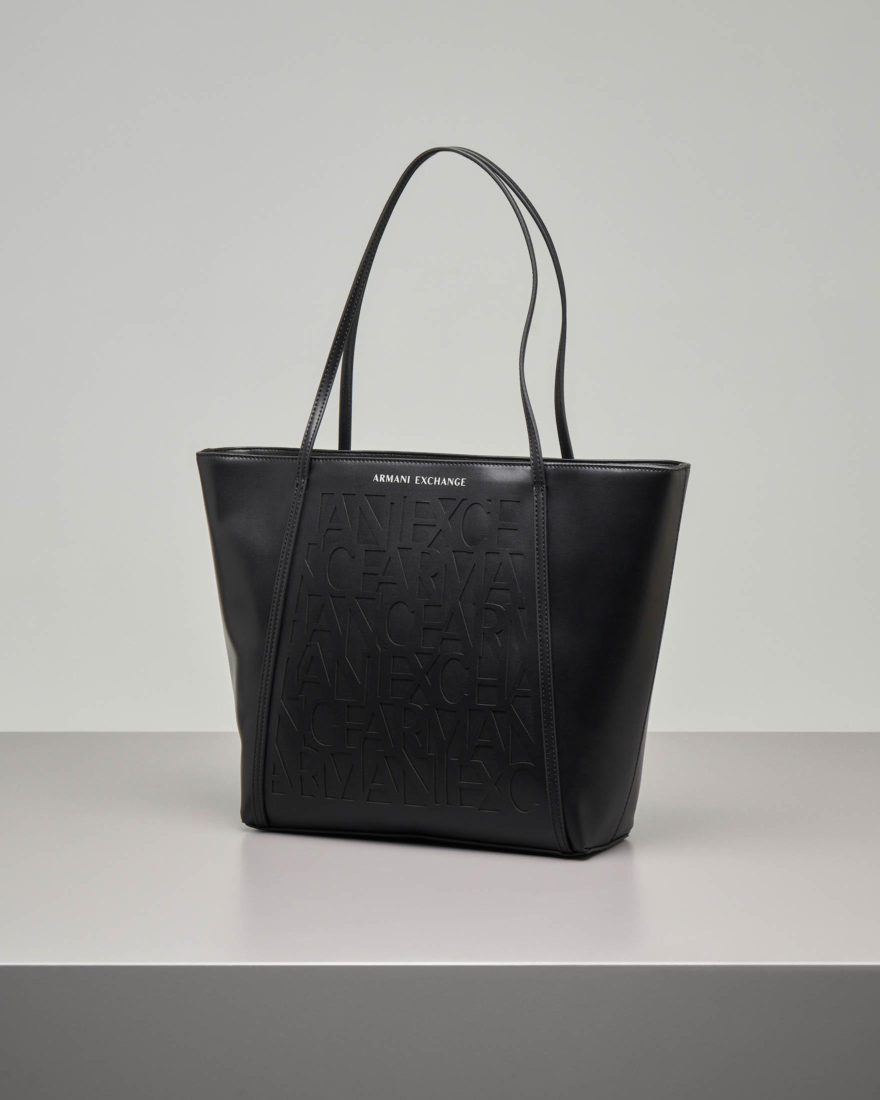 Shopping bag nera in ecopelle effetto liscio con scritta logo effetto devorè