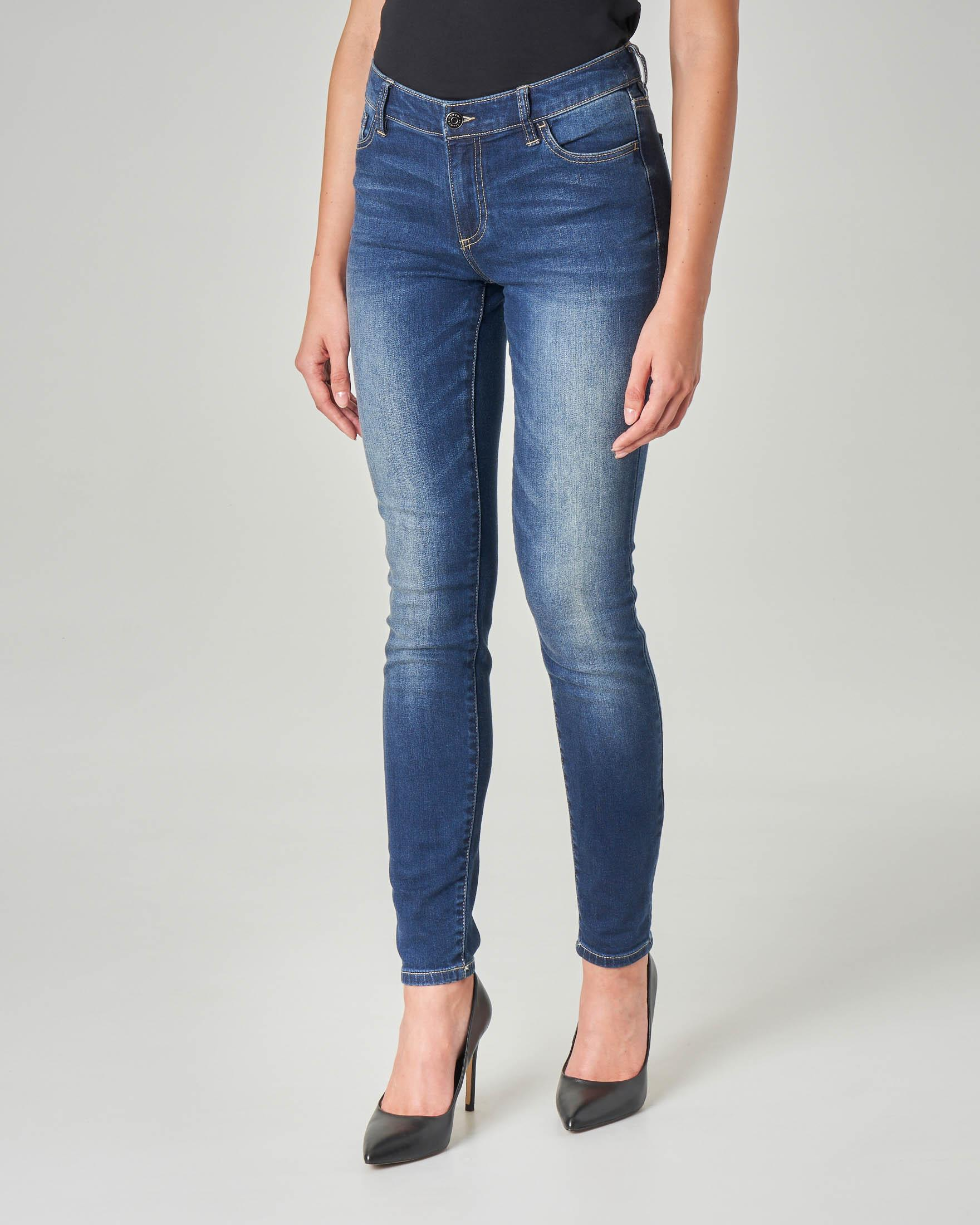 Jeans skinny blu stone washed con schiariture
