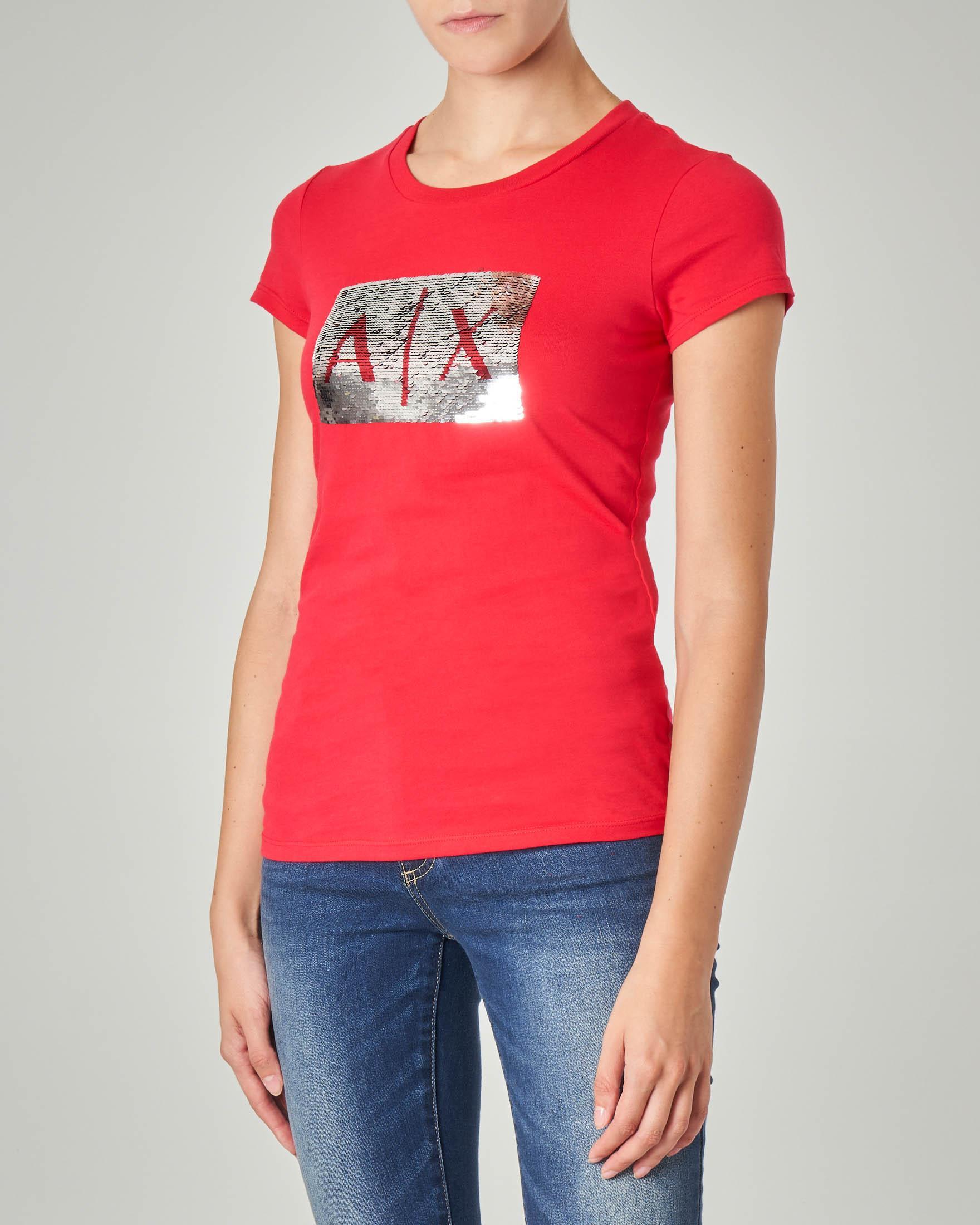 T-shirt rossa in cotone con logo in paillettes reversibili