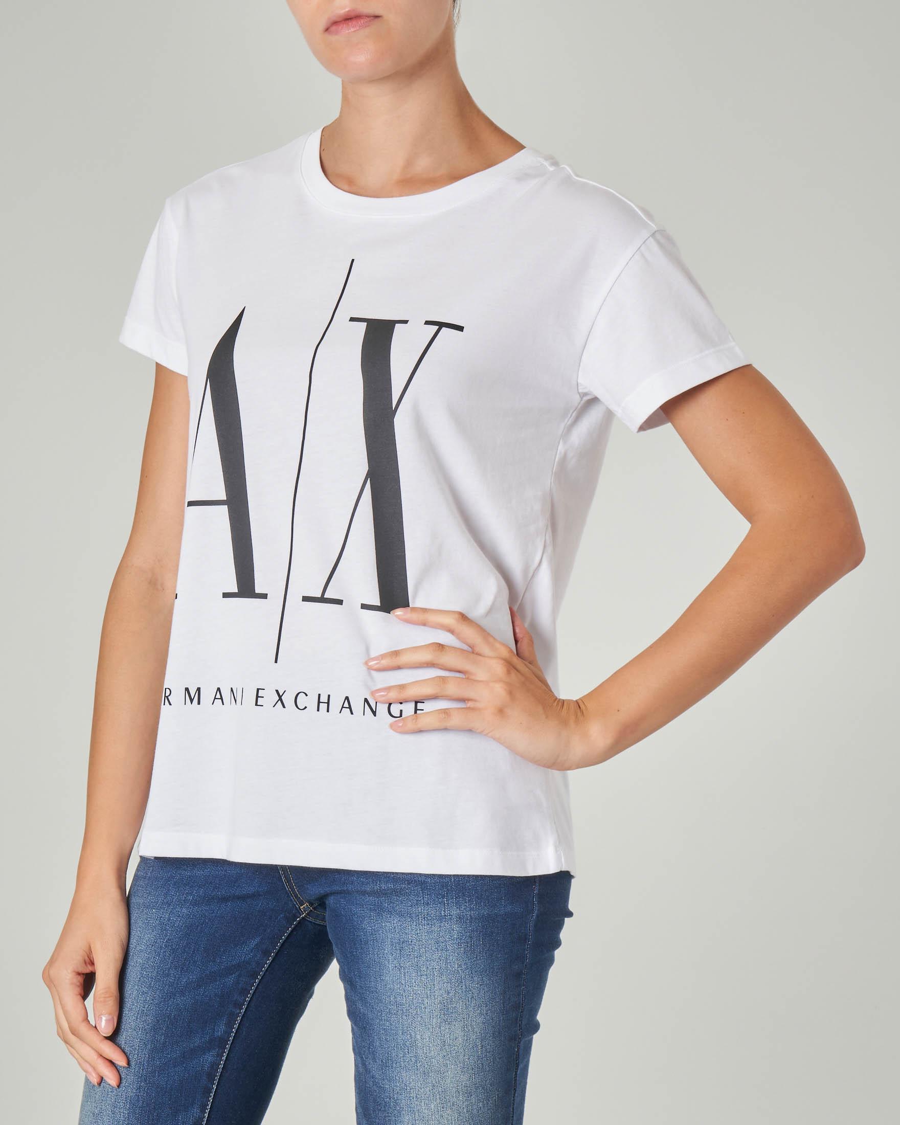 T-shirt bianca in cotone con maxi scritta logo stampata a contrasto