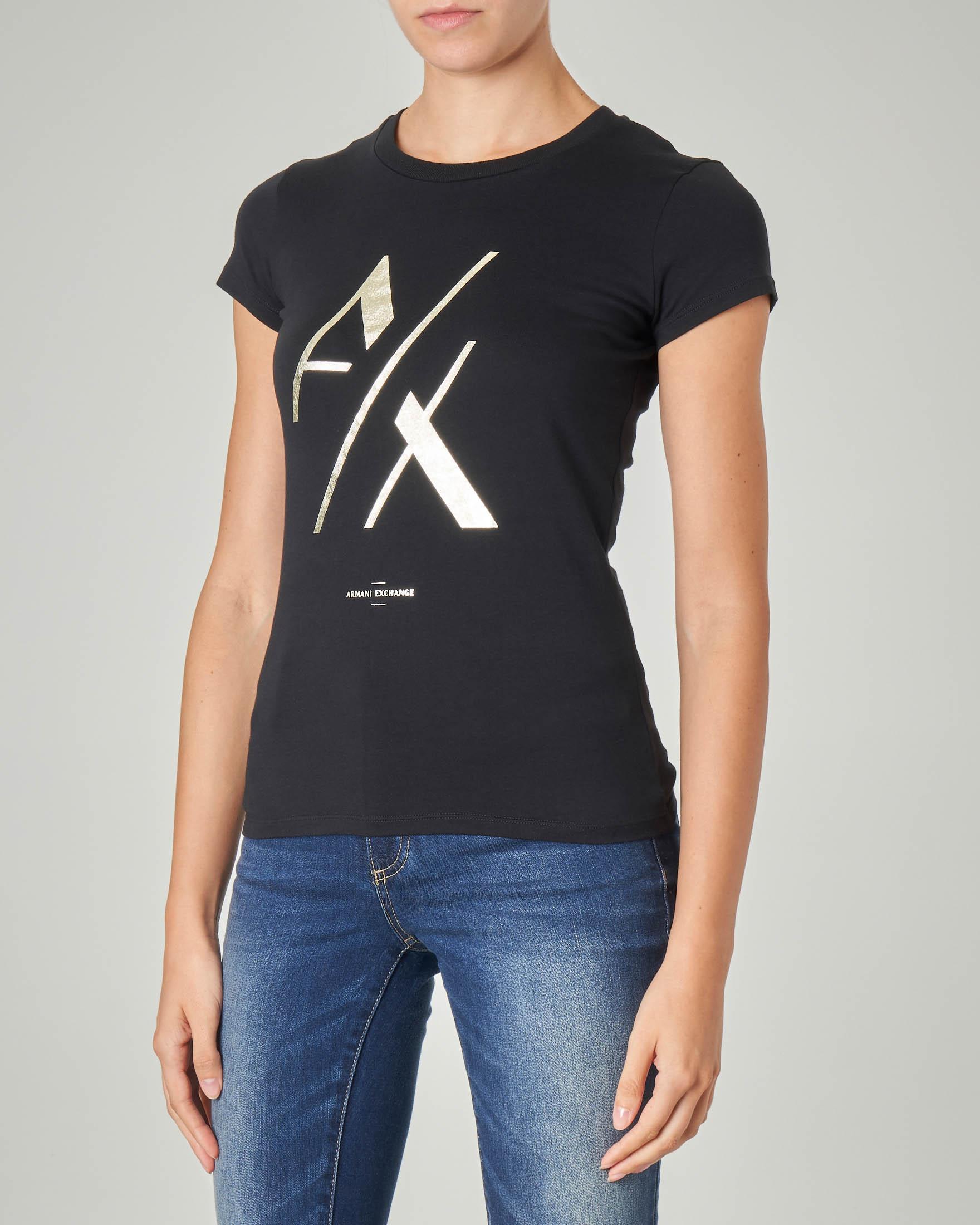 T-shirt nera in coton con monogramma logo stampato in oro effetto laminato