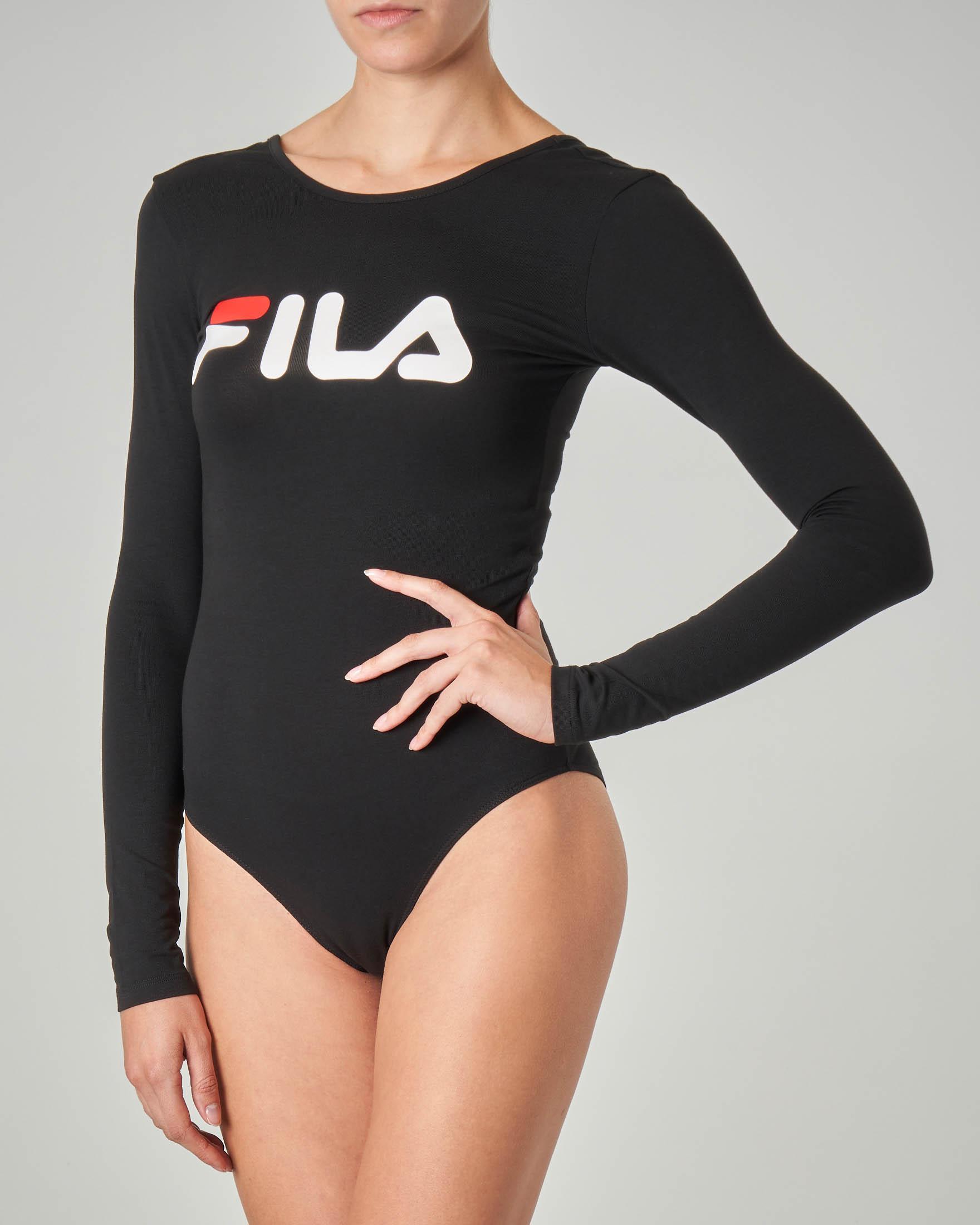 Body nero in cotone elasticizzato con maniche lunghe e stampa logo