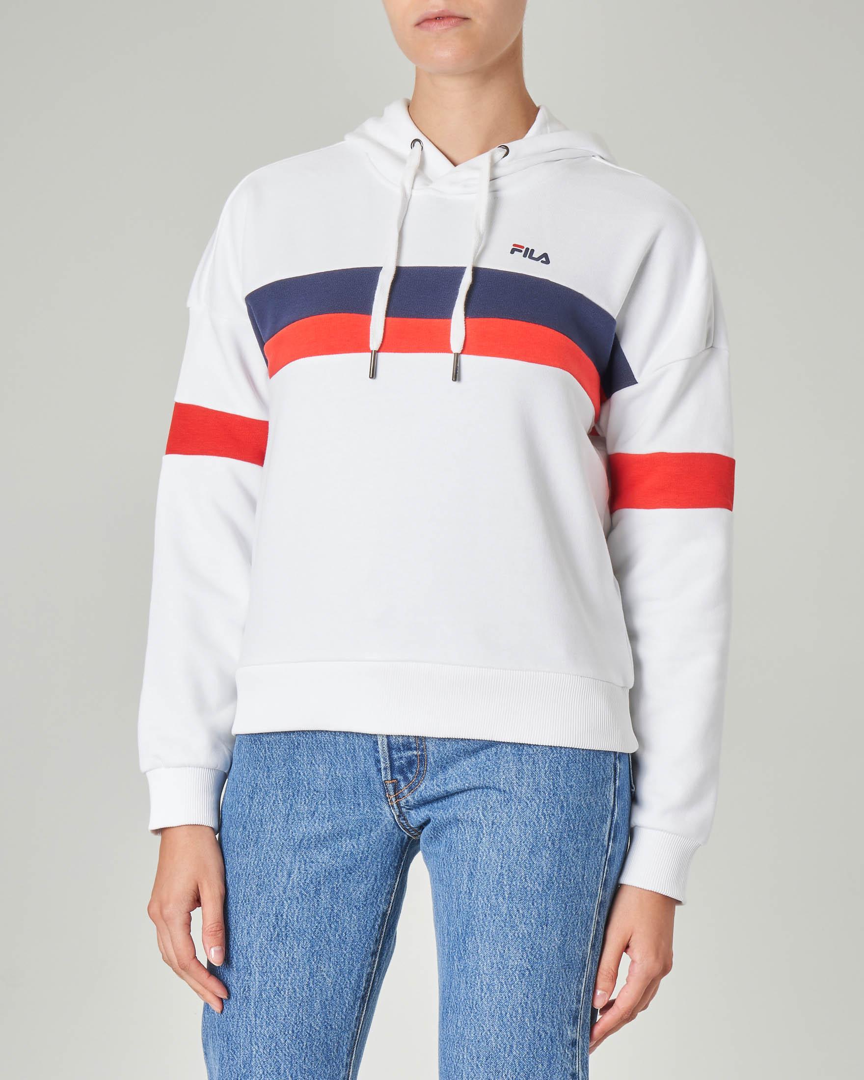 Felpa in jersey di cotone bianca con cappuccio e bande color block