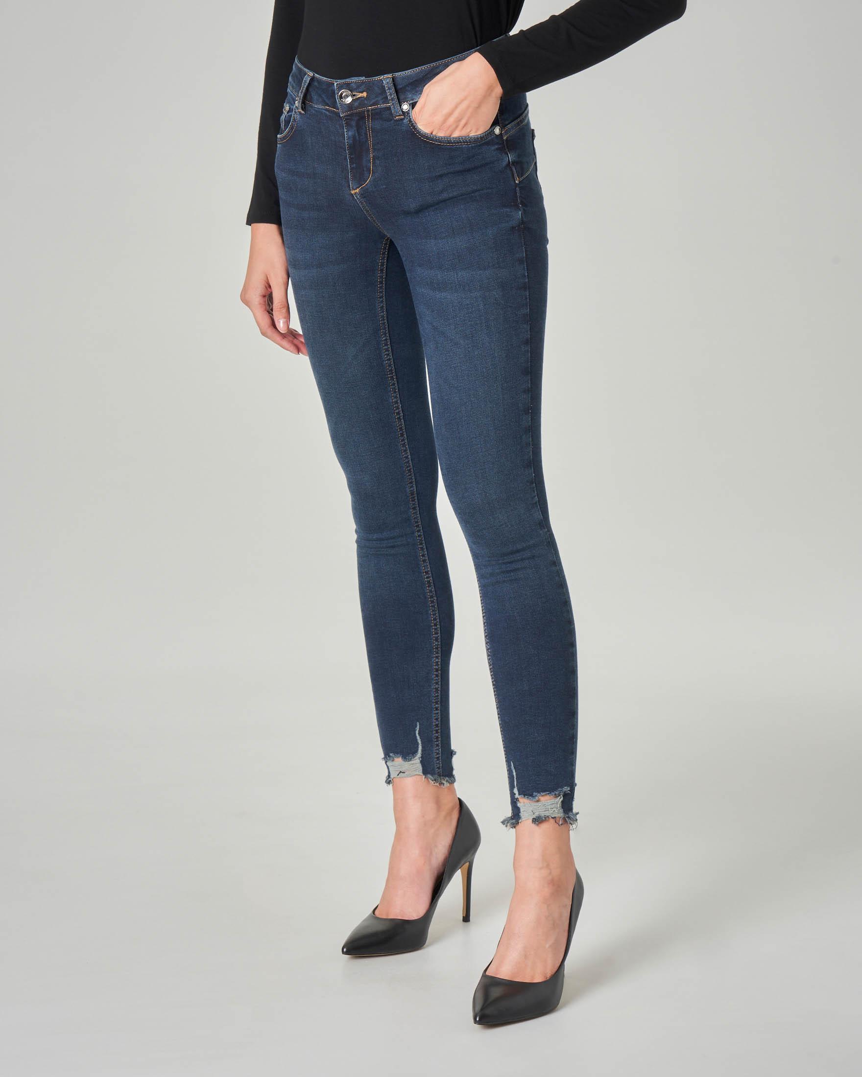 Jeans skinny Bottom up a vita medi con orli sfrangiati