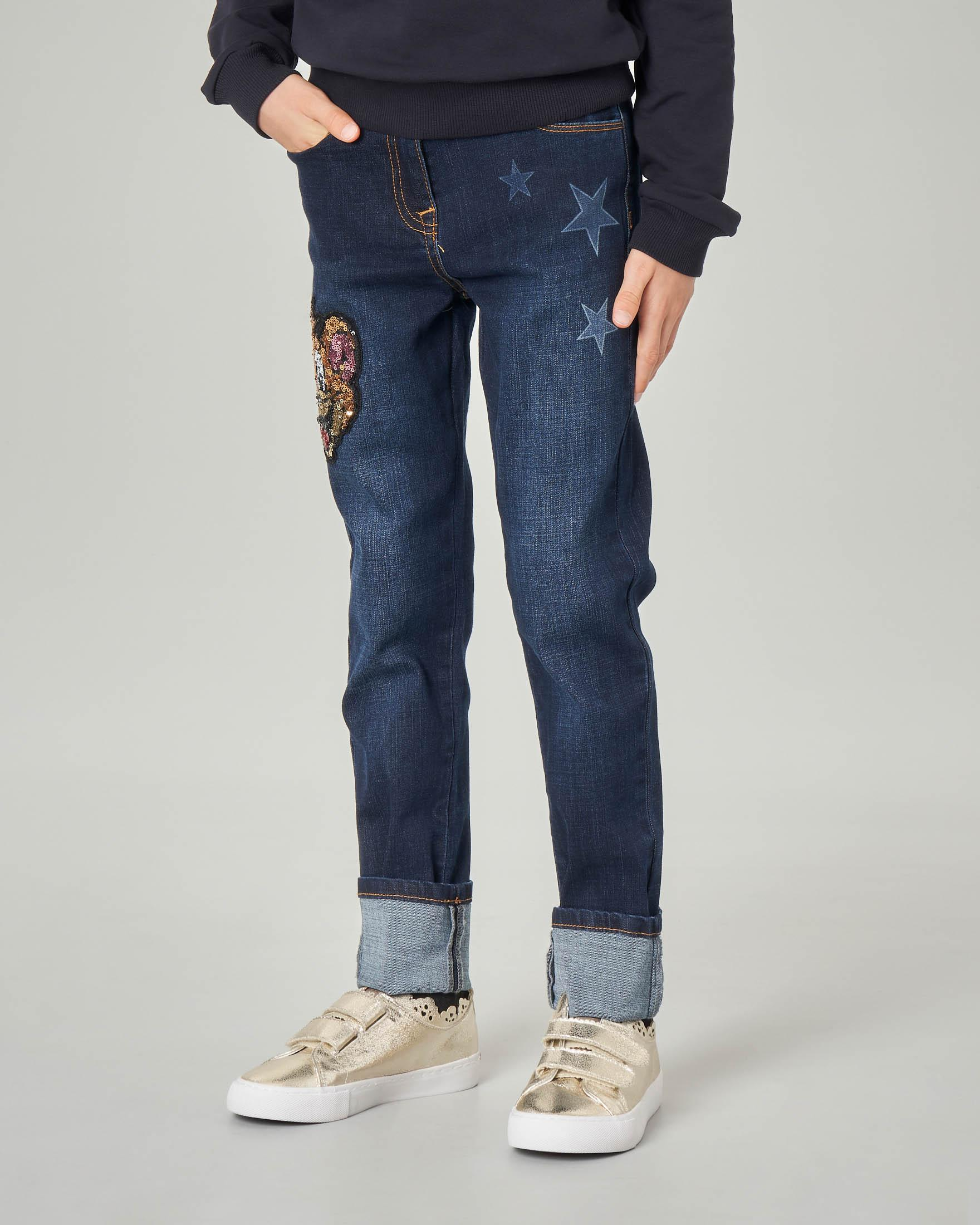 Jeans con stampa stelle e Jerry in paillettes applicato 4-10 anni