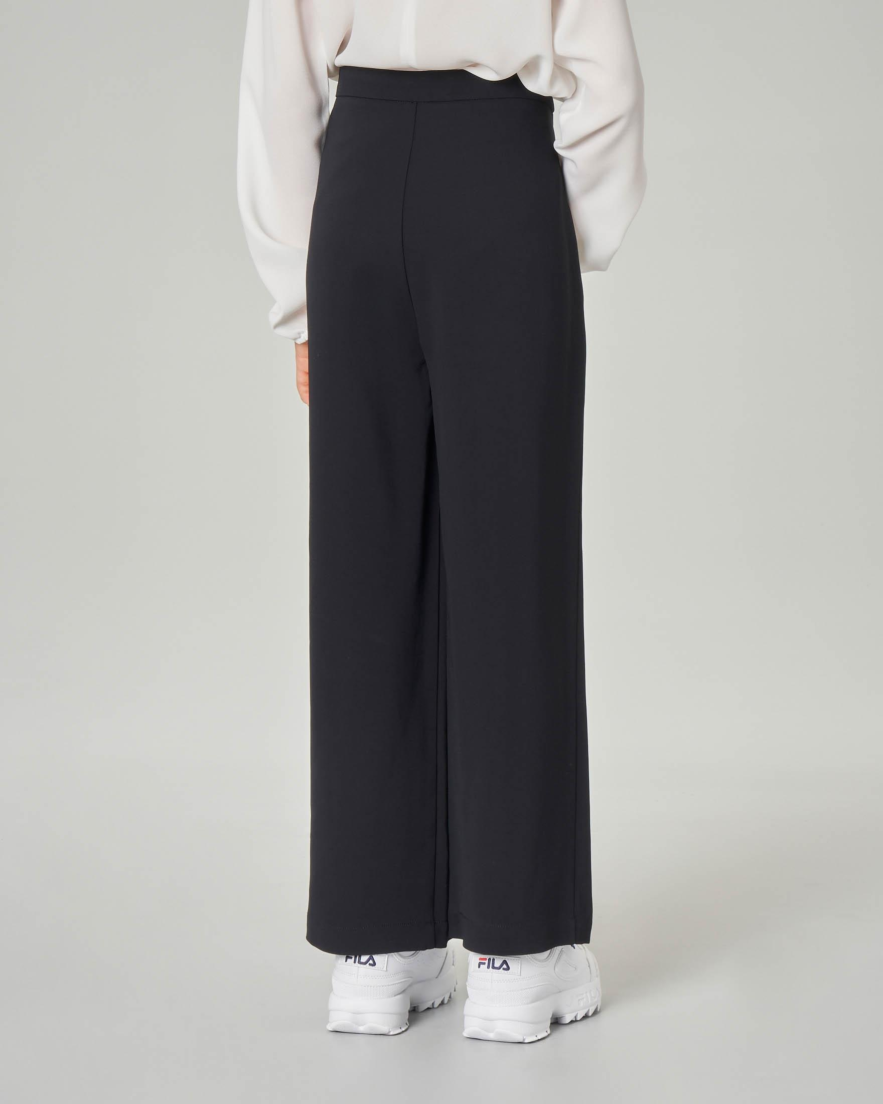 Pantalone nero a palazzo in crêpe a vita alta S-XL