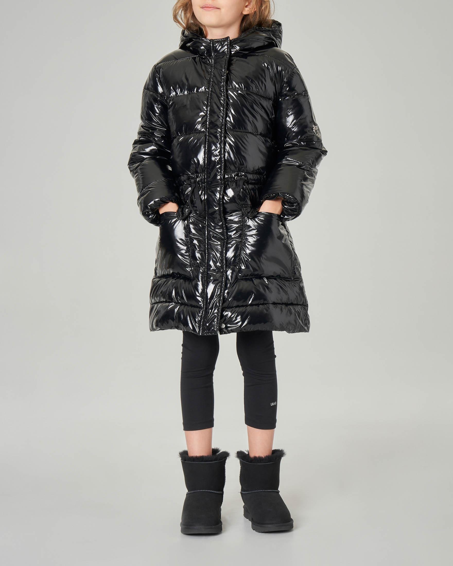 Piumino lungo nero in nylon lucido con cappuccio M-XL