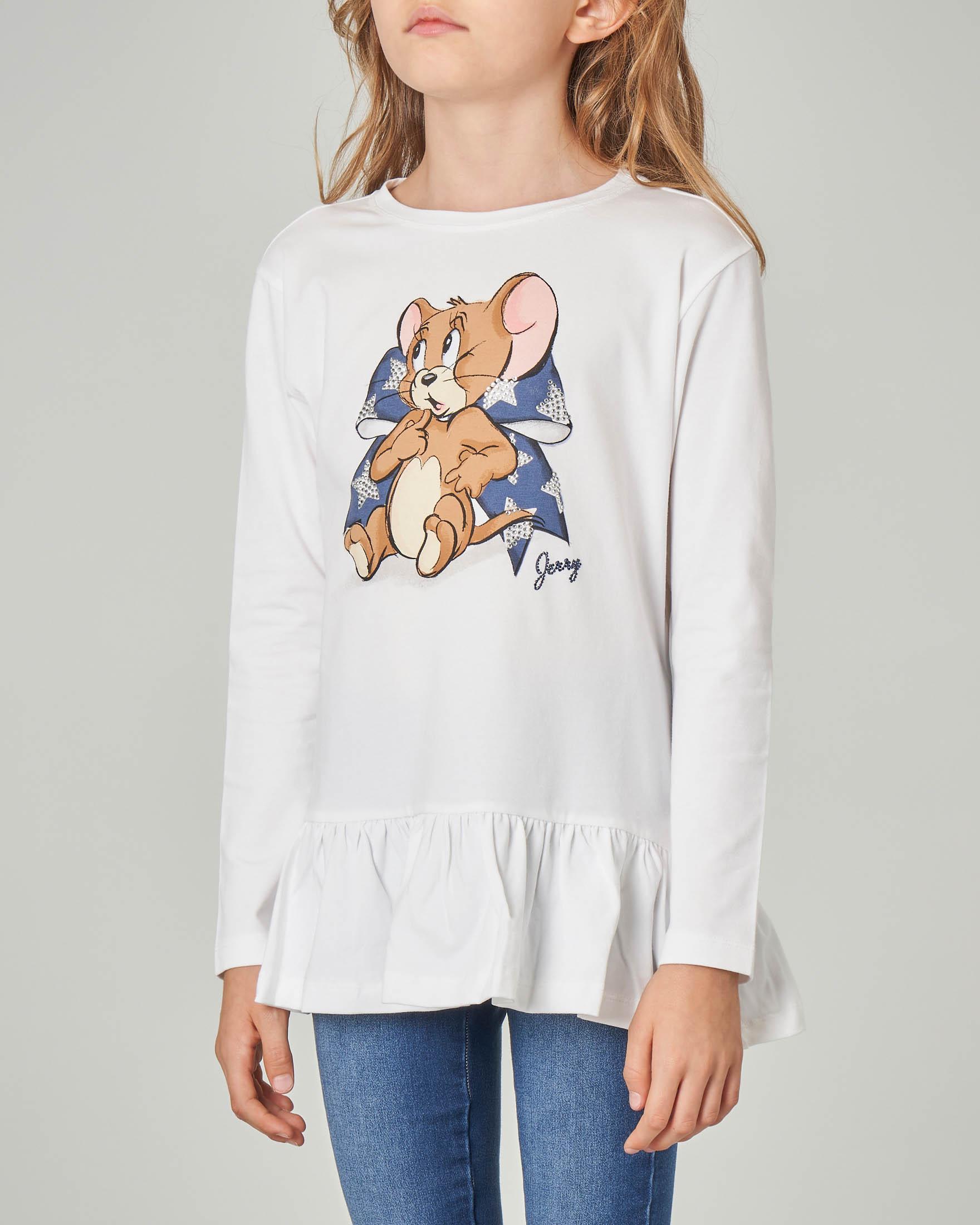 T-shirt bianca manica lunga con stampa Jerry e fiocco blu con strass 4-10 anni