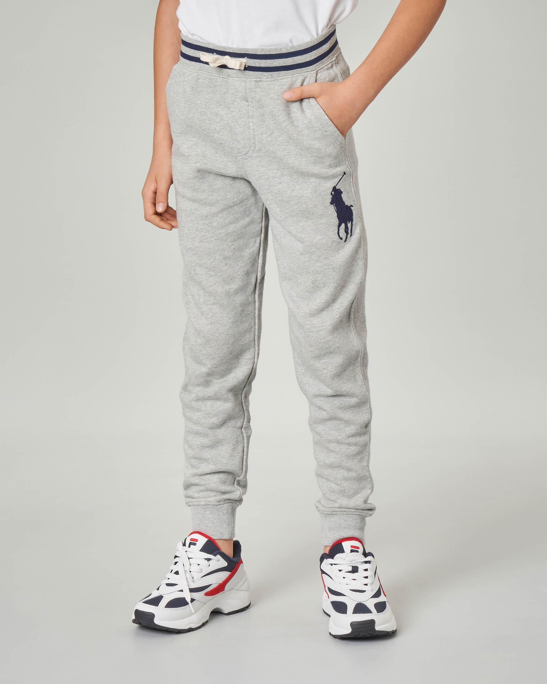 Pantalone grigio in felpa con big-pony blu ricamato S-XL