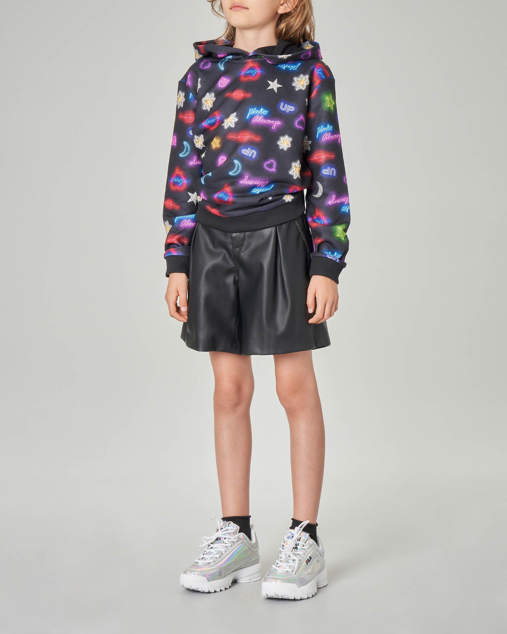 Felpa nera con cappuccio e stampa neon S-XL