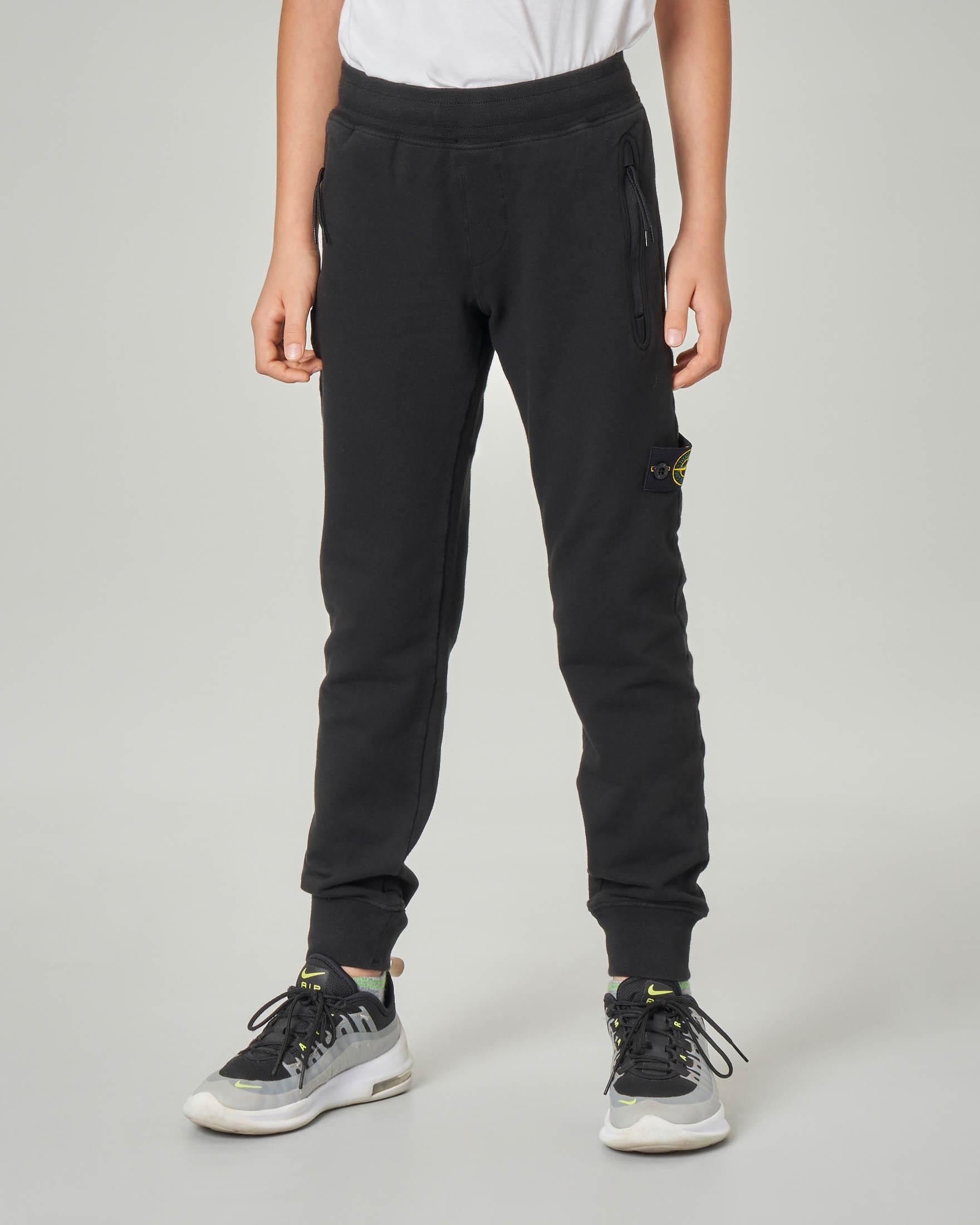 Pantalone nero in felpa in cotone stretch 10-12 anni