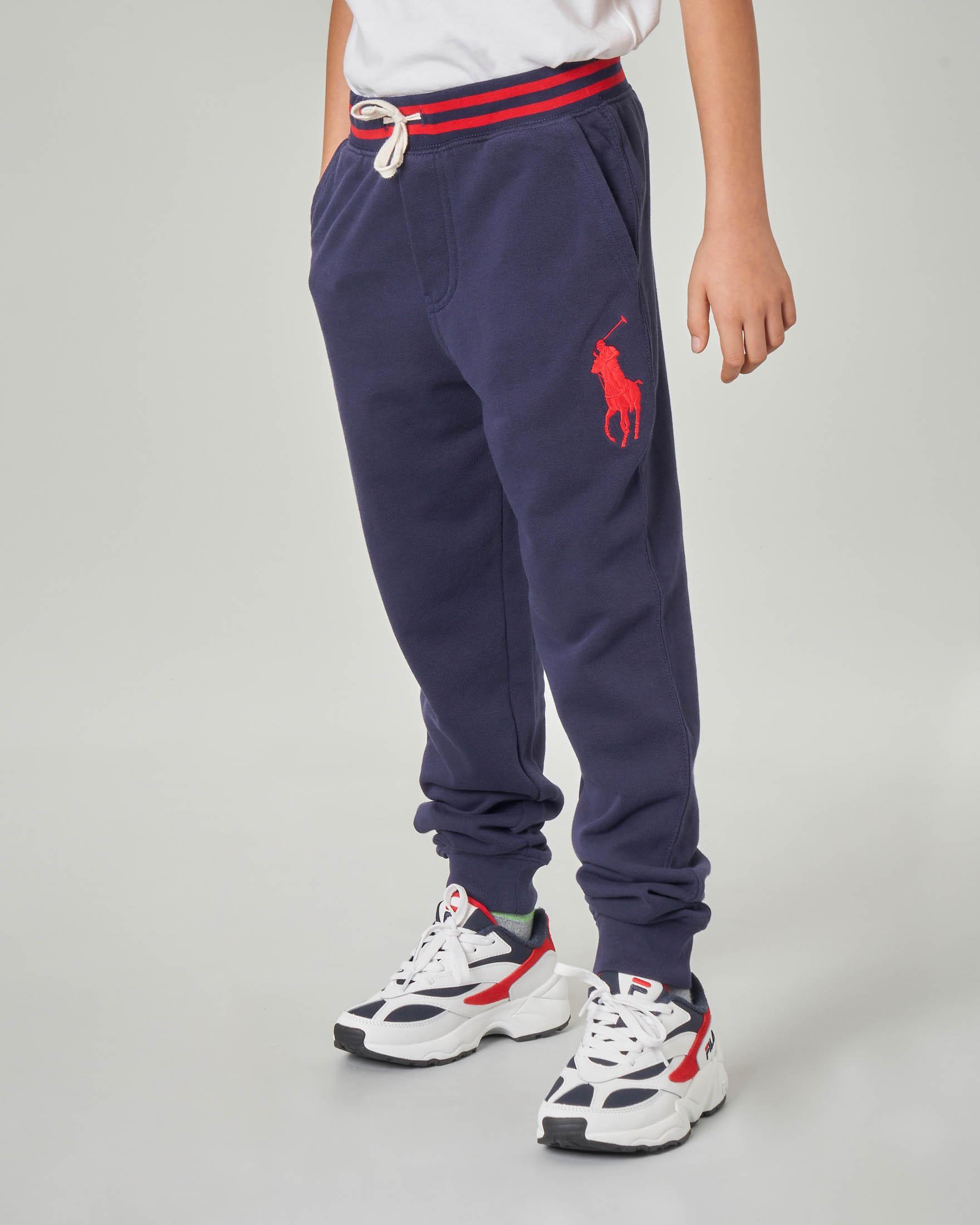 Pantalone blu in felpa con big-pony rosso ricamato S-XL