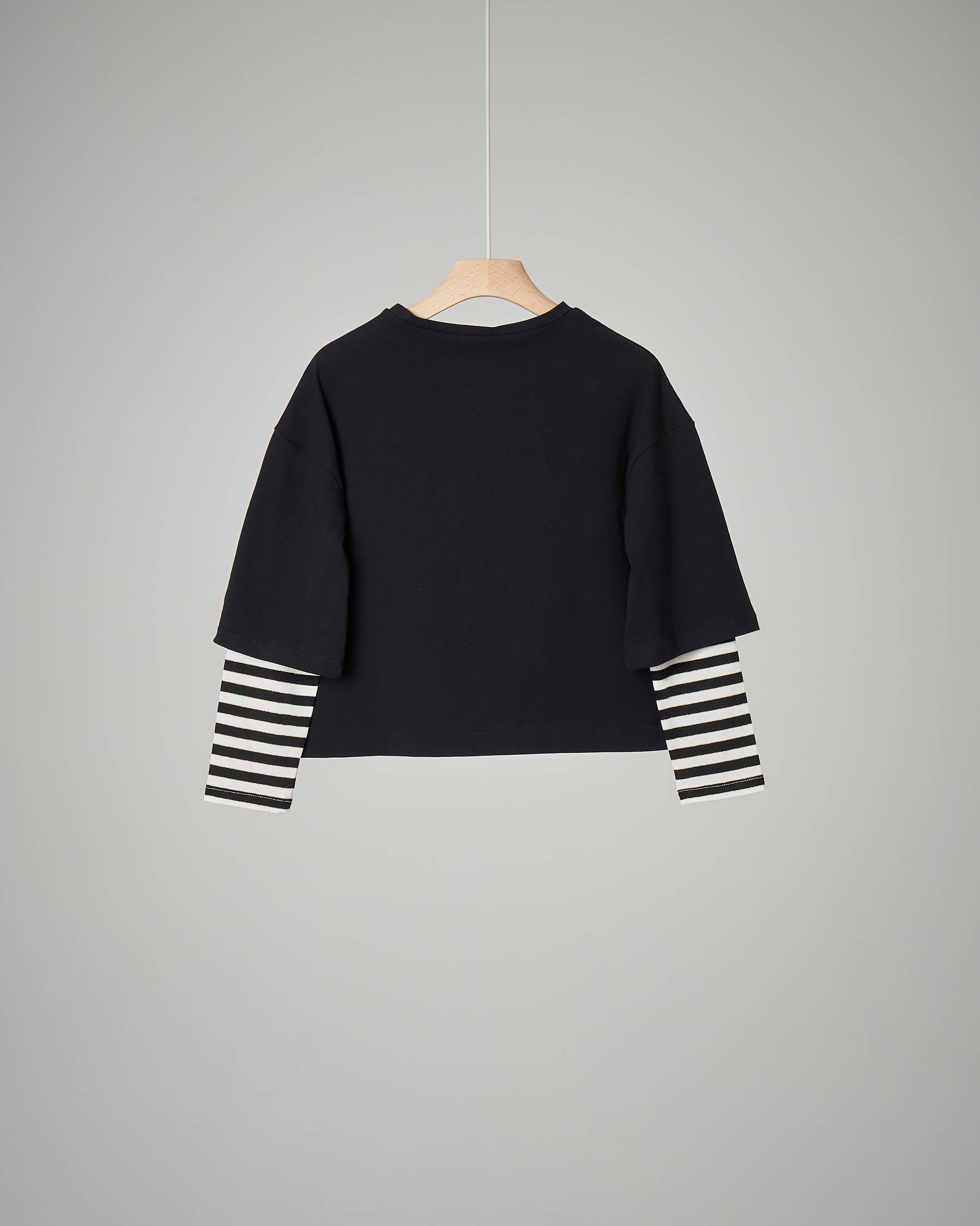 T-shirt nera manica lunga con stampa Cherie 32