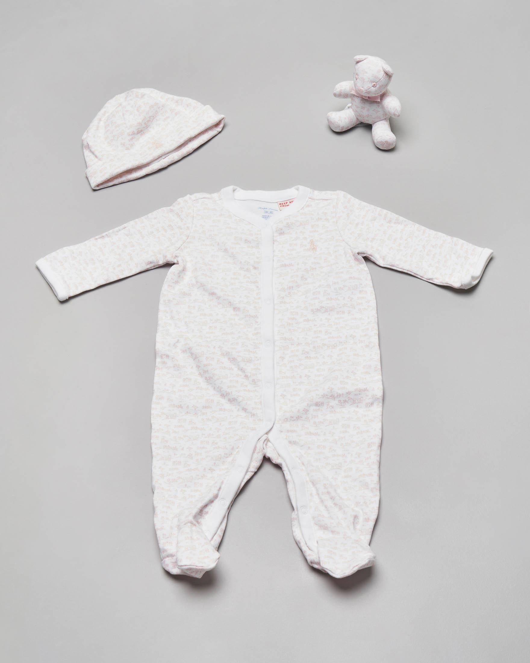 Set idea regalo 3 pezzi con tutina berretto e orsetto rosa fantasia equestre 3-6 mesi