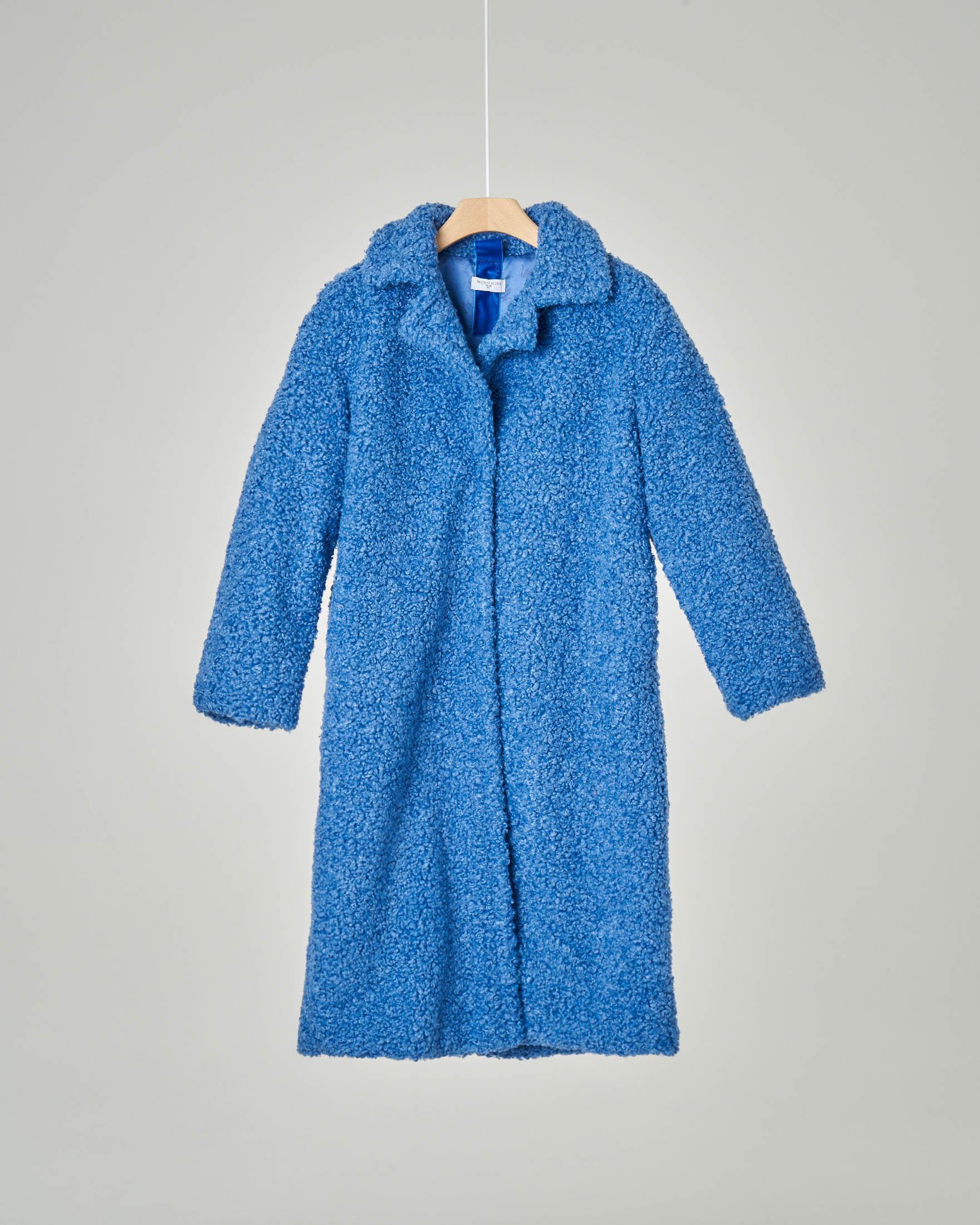 Cappotto blu royal in ecopelliccia effetto agnellino 10-16 anni
