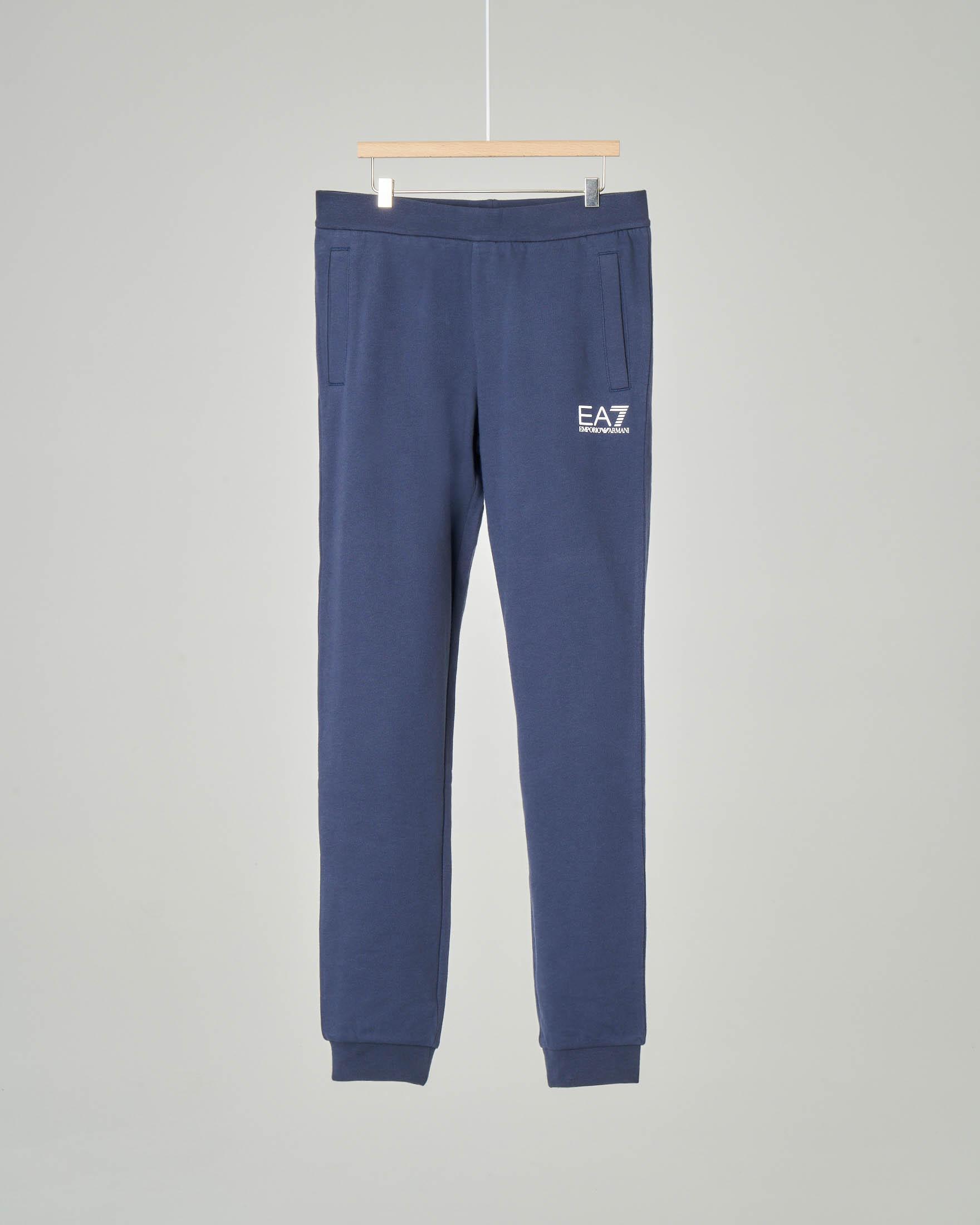 Pantalone blu in felpa con logo piccolo stampato 8-14 anni