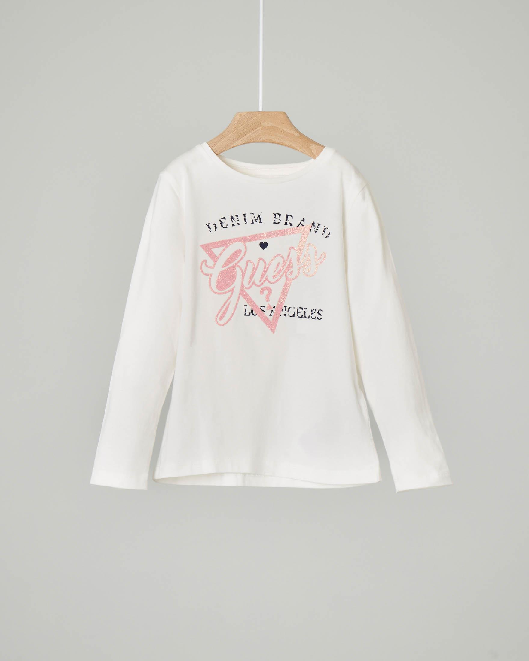 T-shirt bianca manica lunga con logo rosa effetto glitter 2-7 anni