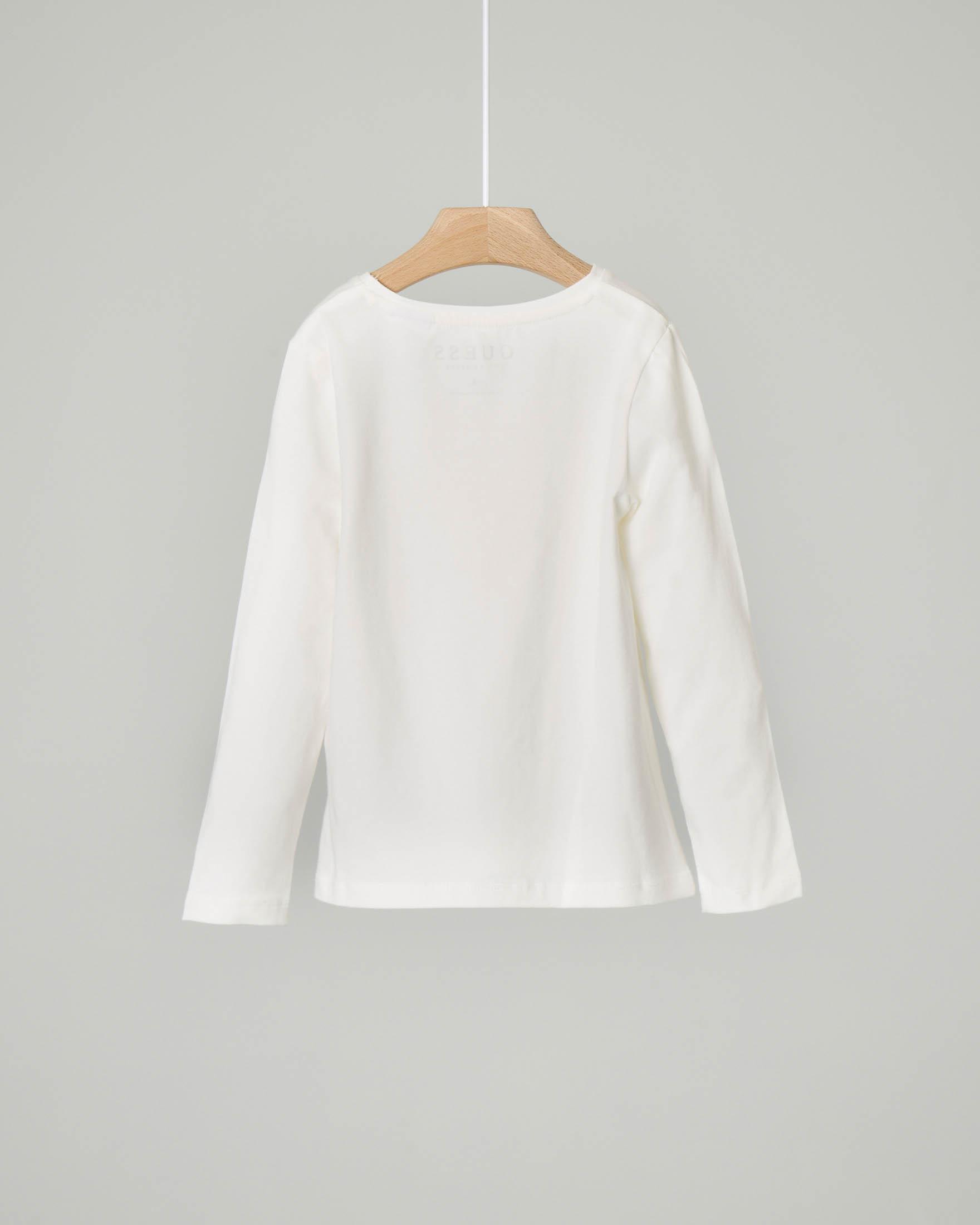 T-shirt bianca manica lunga in cotone con stampa logo glitter rosa 3-7 anni