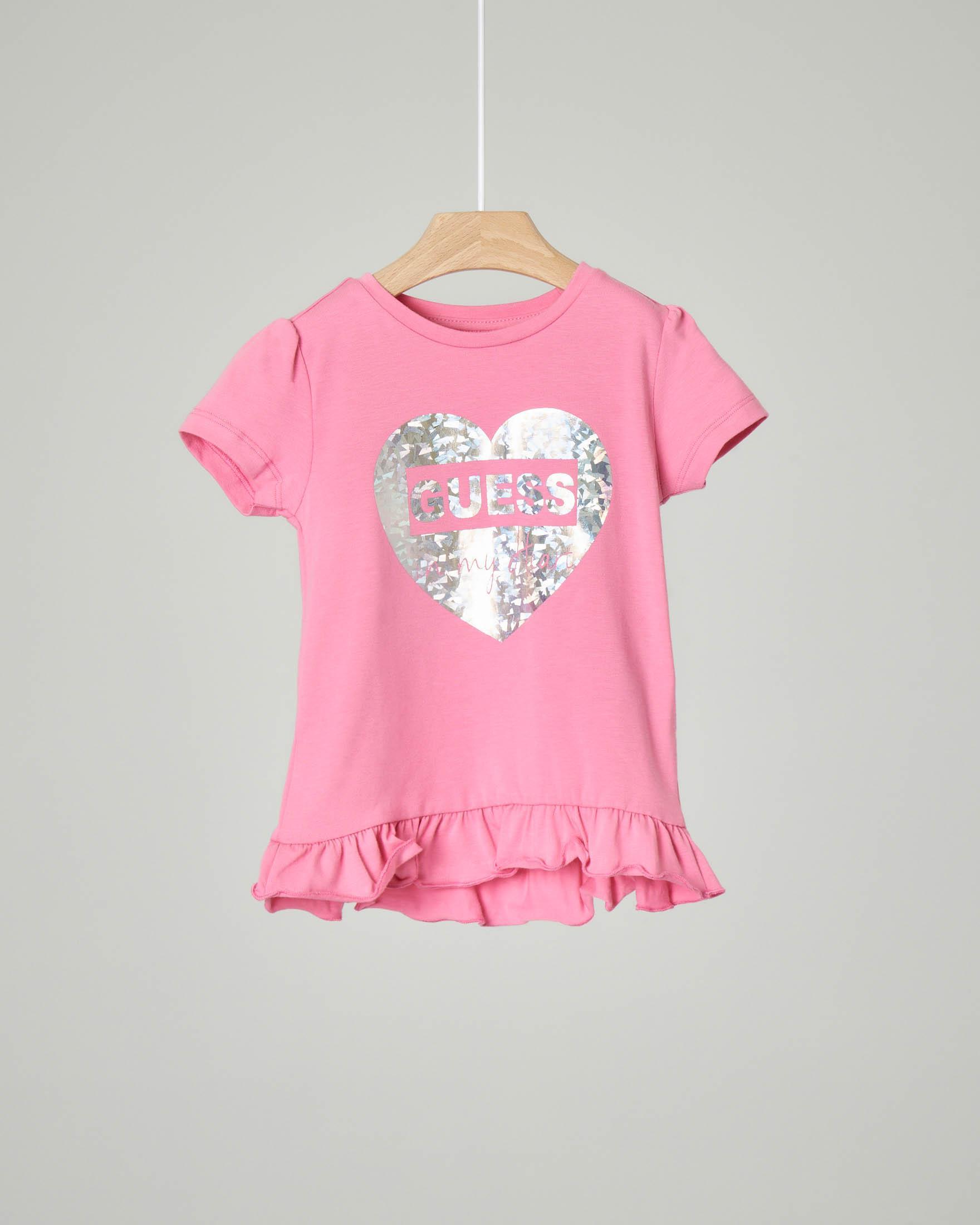 T-shirt rosa con stampa cuore argento e volant sul fondo 2-7 anni