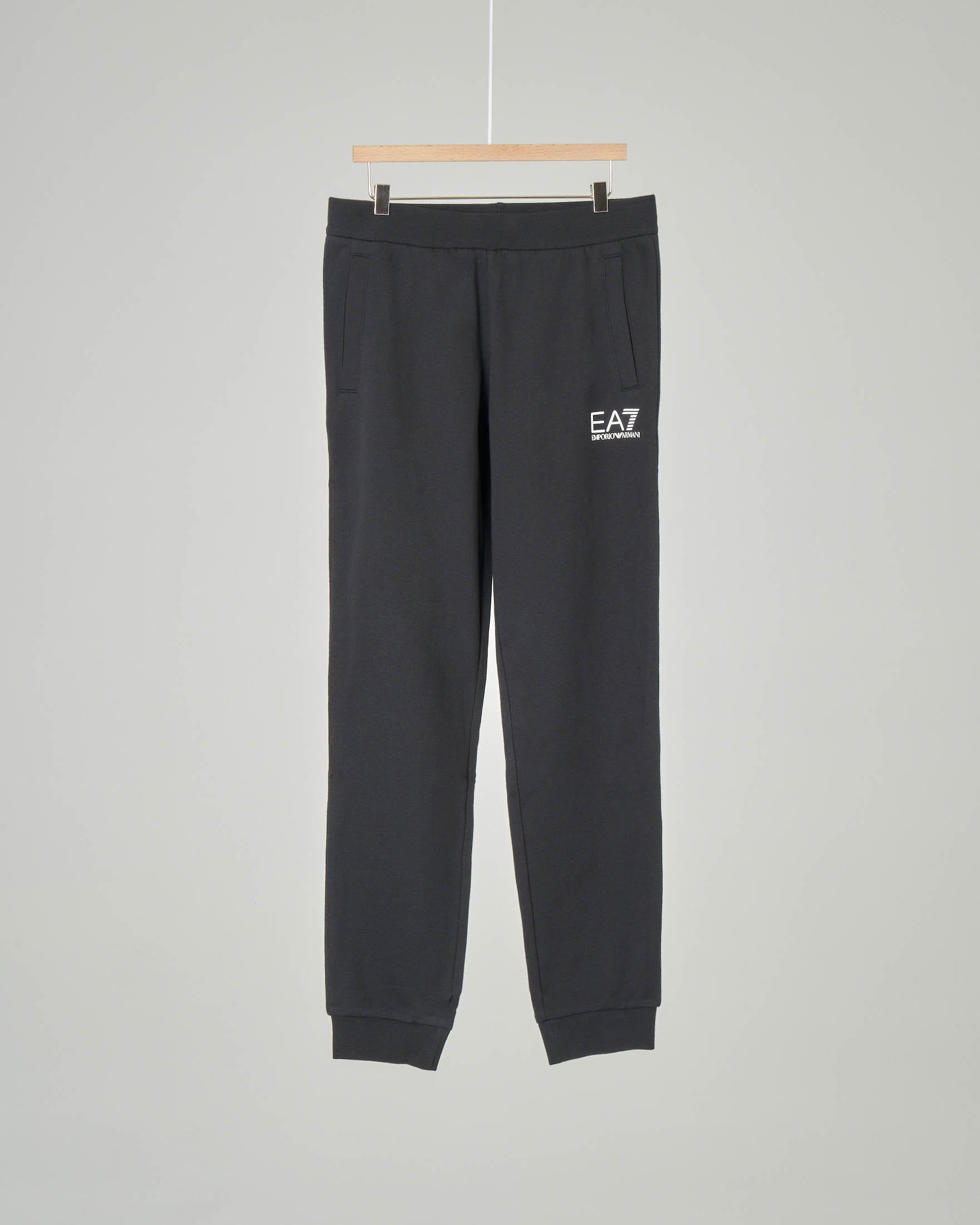 Pantalone nero in felpa con logo piccolo stampato 8-14 anni
