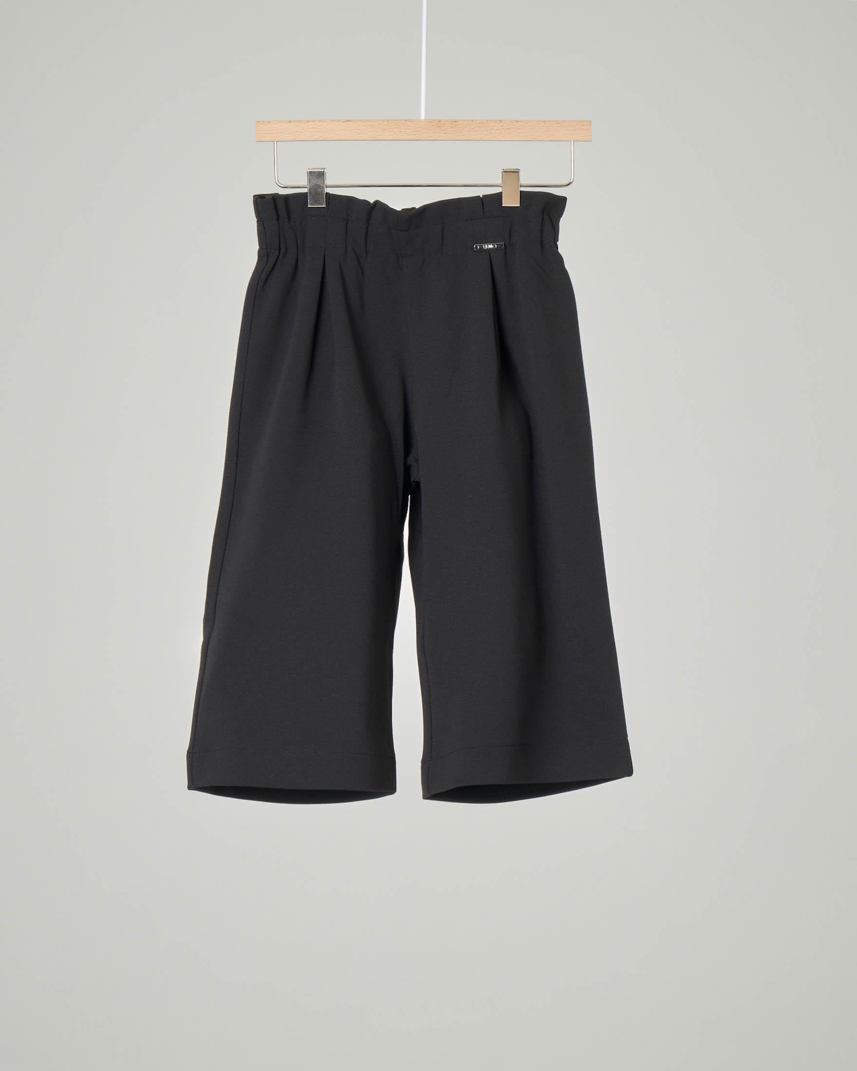 Pantalone nero cropped in jersey crêpe 3-7 anni