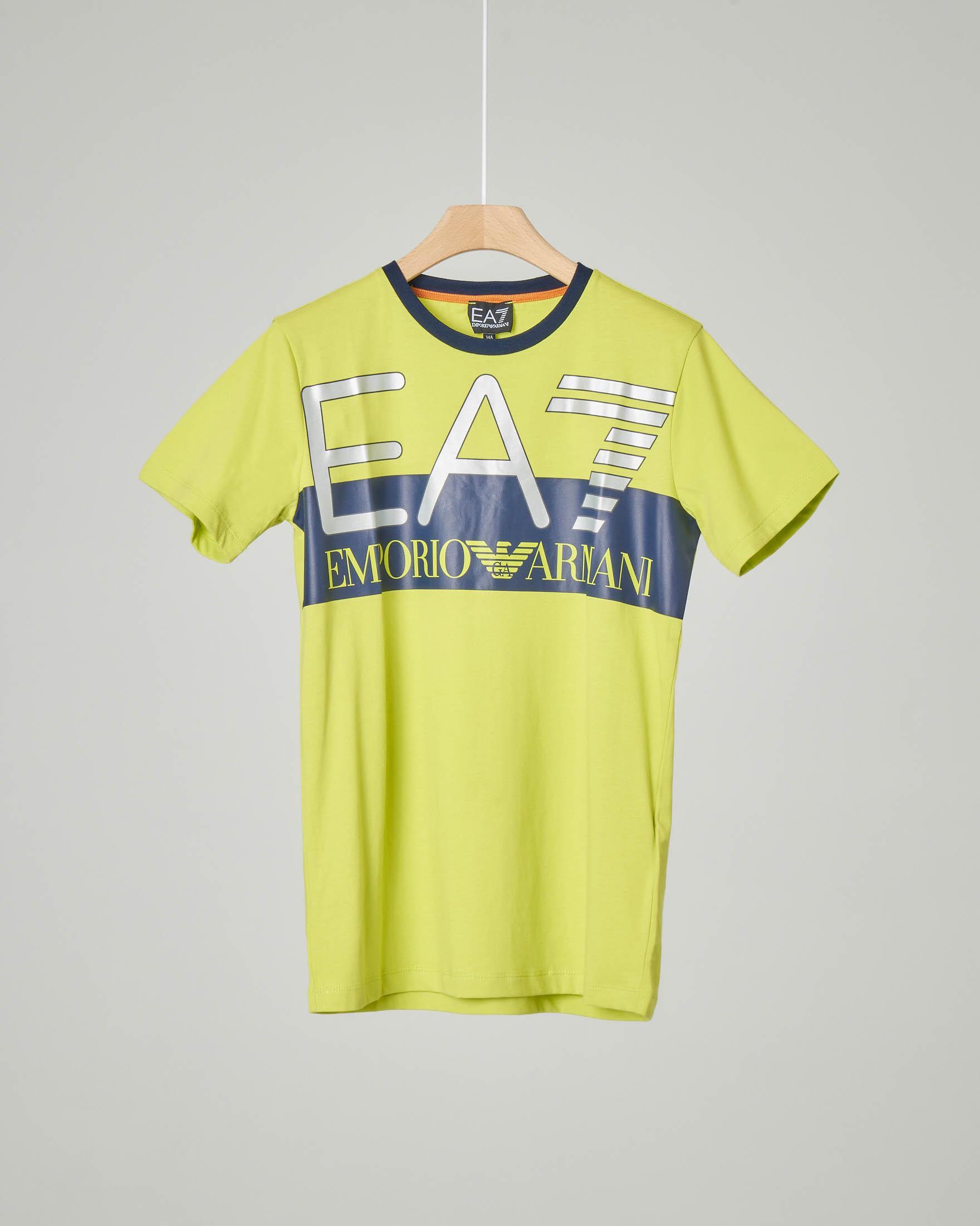 T-shirt gialla mezza manica con maxi-logo stampato 8-14 anni