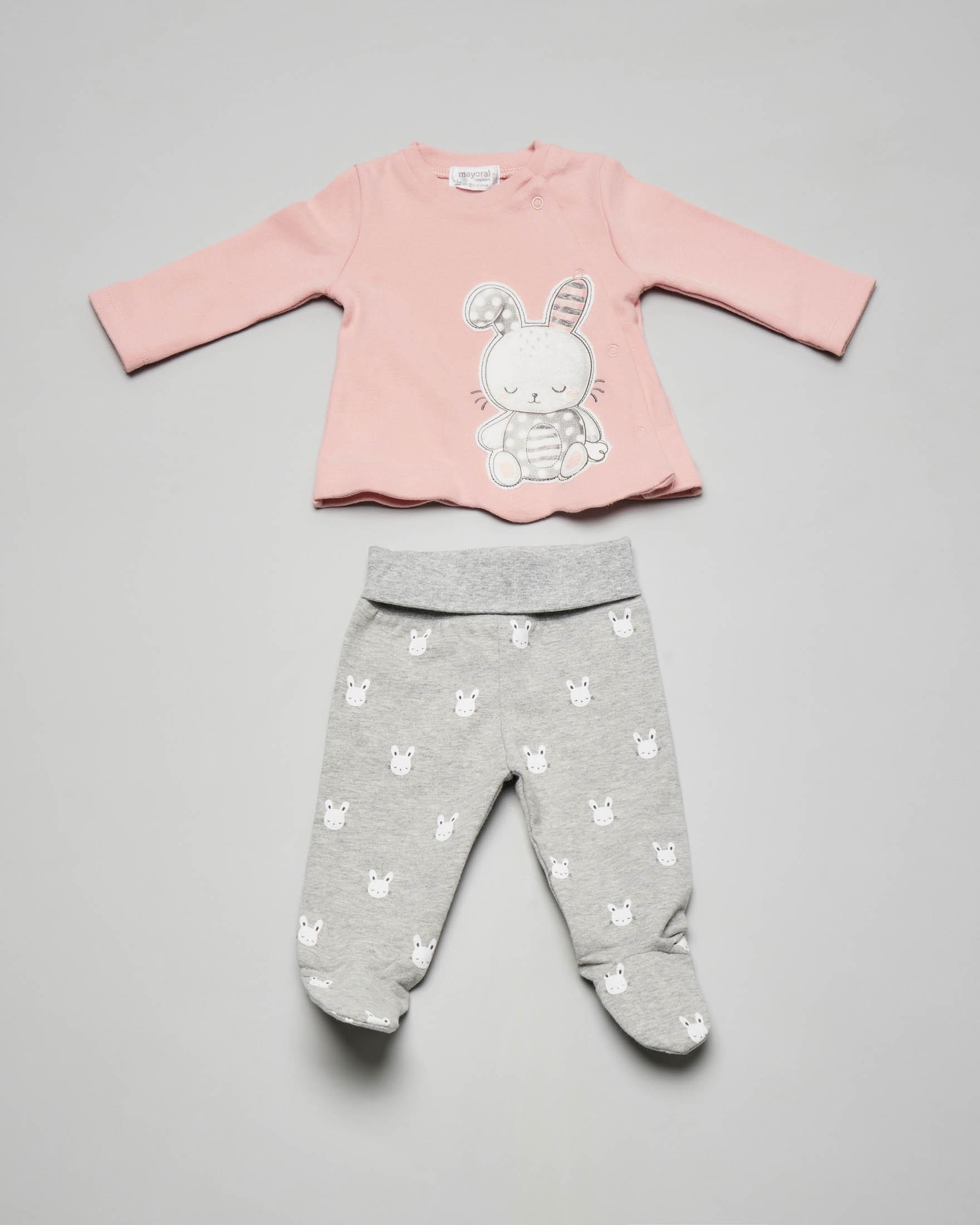 Completo maglia rosa con coniglietto ricamato e ghettina grigia 1-4