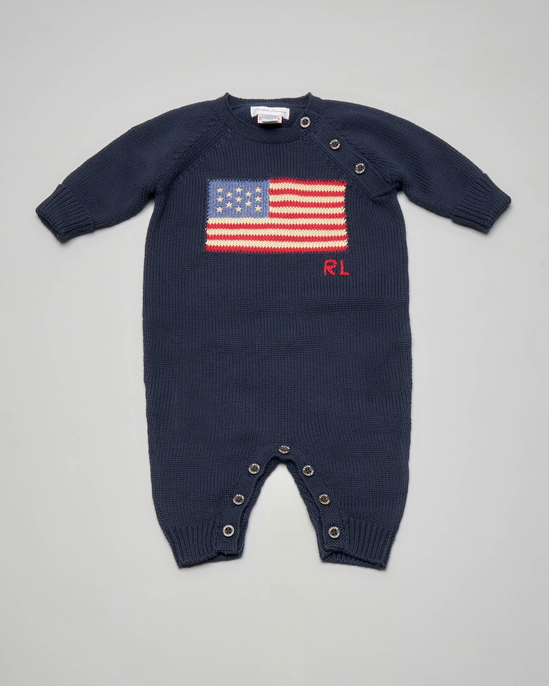 Tutina blu in maglia di cotone con bandiera USA ricamata 3-6 mesi
