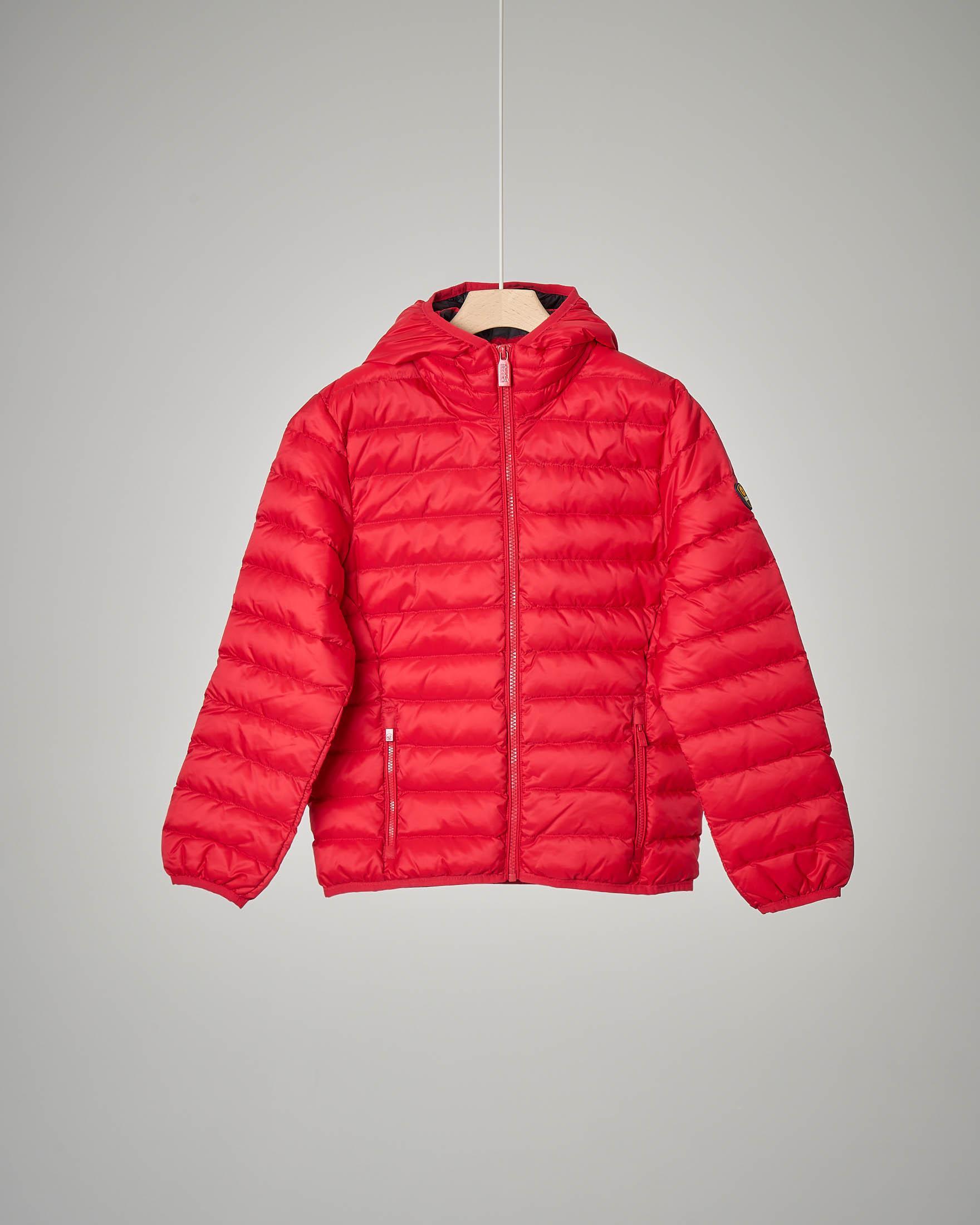 Piumino rosso con cappuccio 2-8 anni