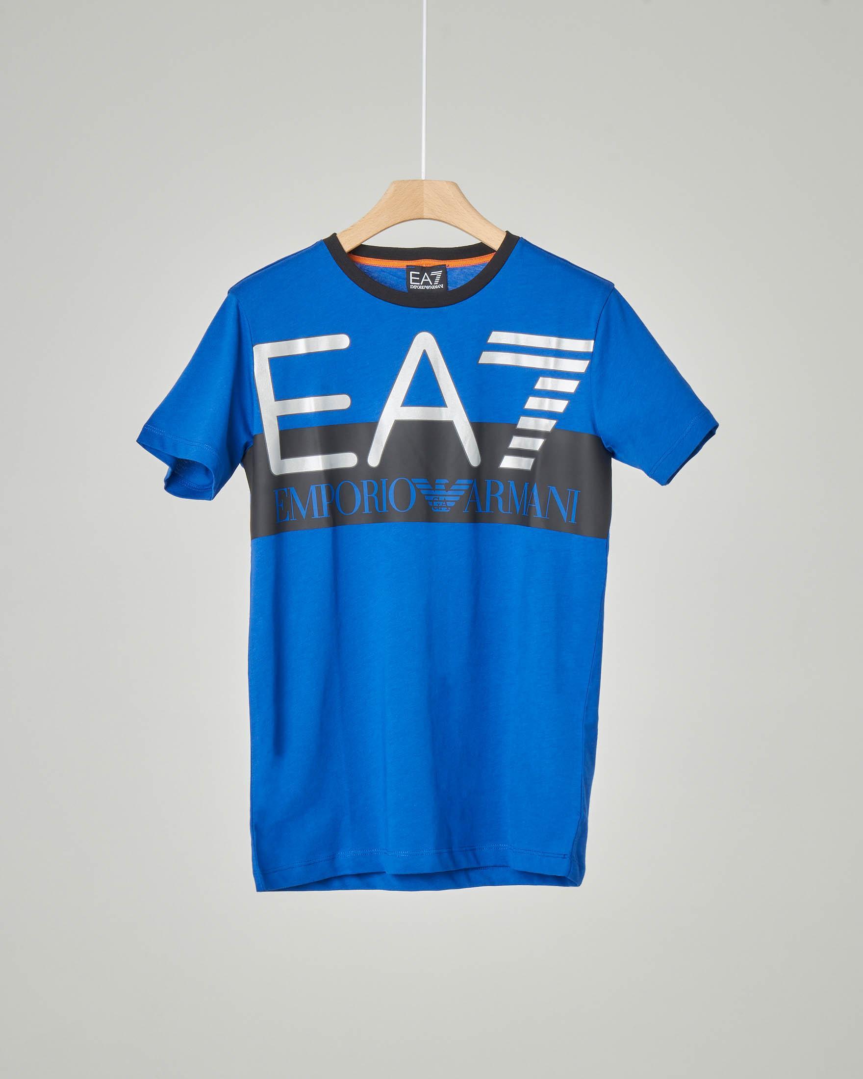 T-shirt blu royal mezza manica con maxi-logo stampato 8-14 anni