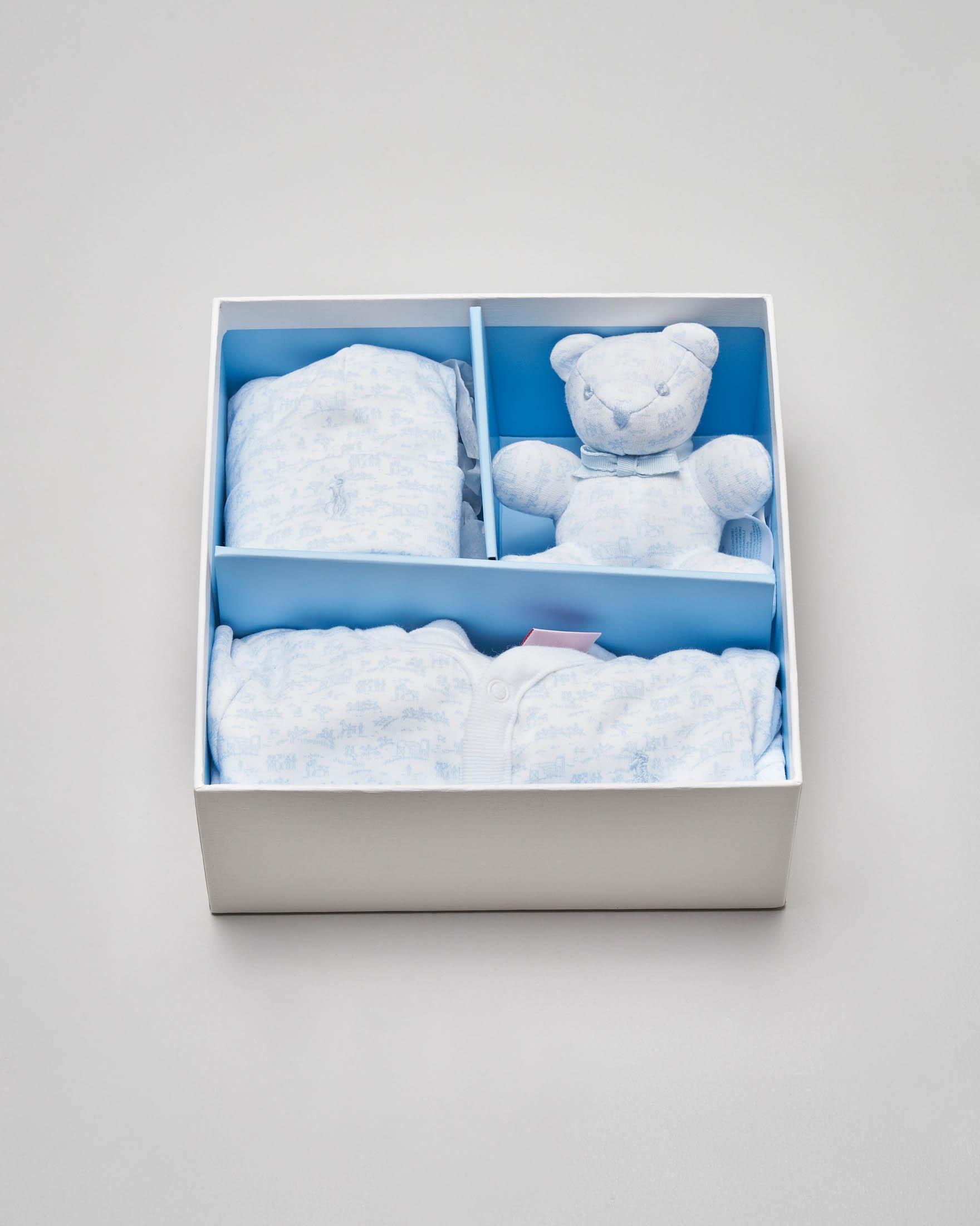 Set idea regalo 3 pezzi con tutina berretto e orsetto azzurri fantasia equestre 3-6 mesi