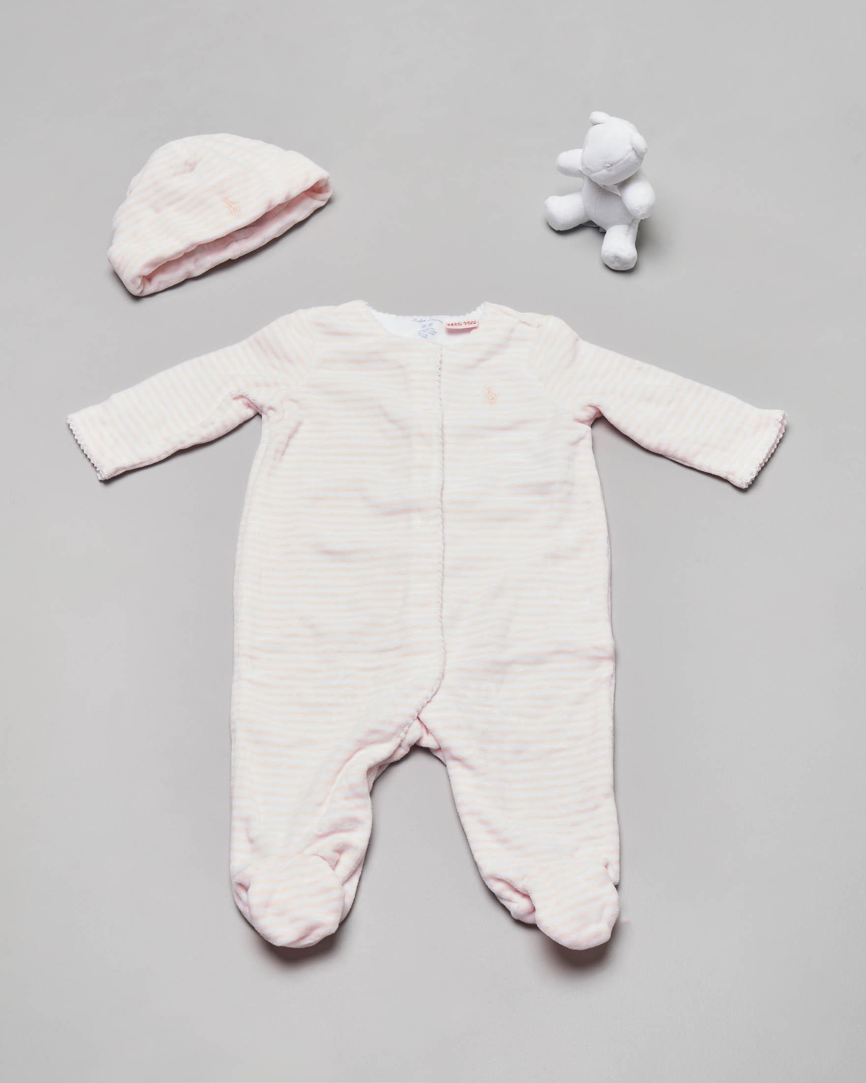 Set idea regalo 3 pezzi con tutina berretto e orsetto a righe rosa 3-6 mesi