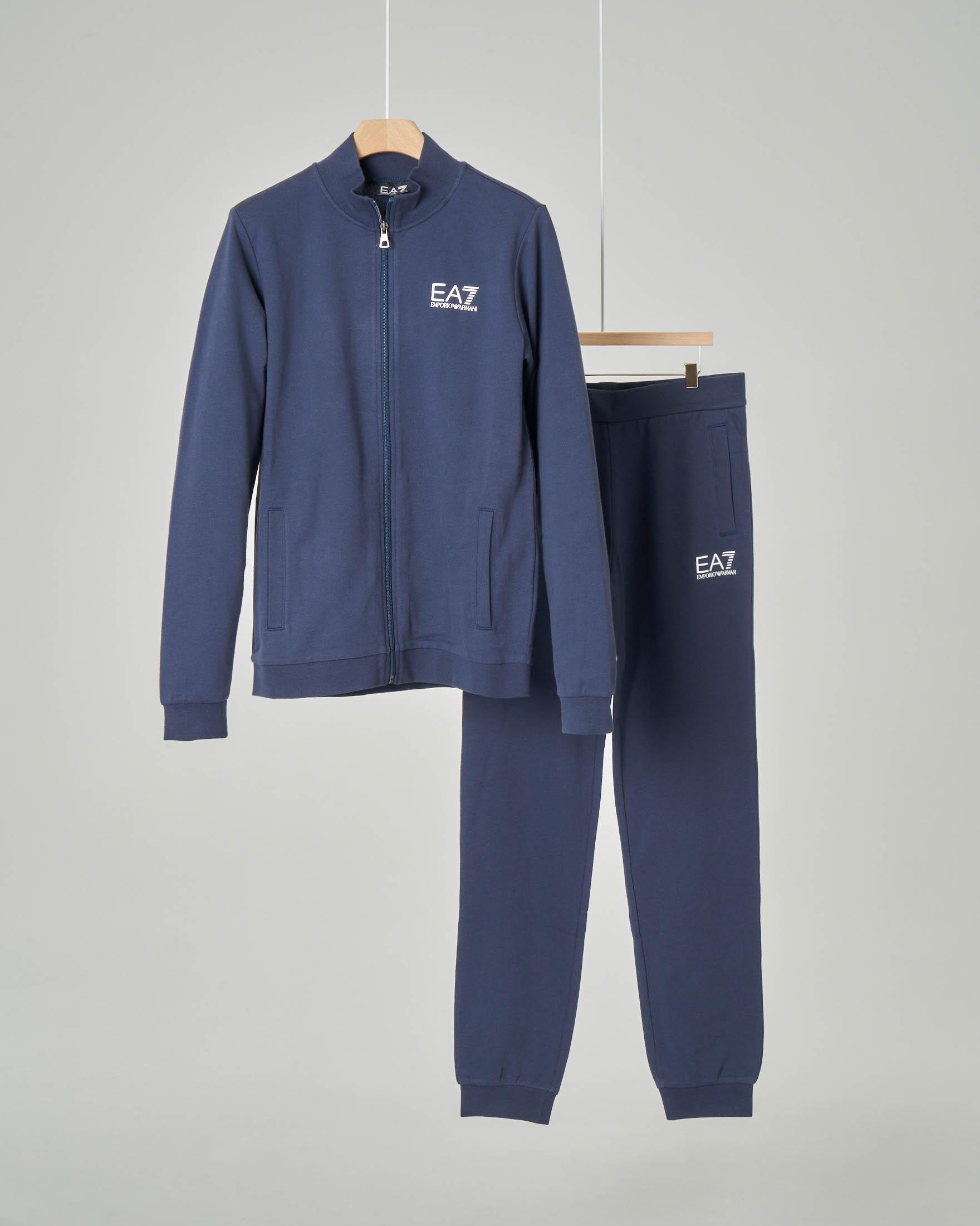 Tuta blu in puro cotone con logo piccolo stampato 8-14 anni