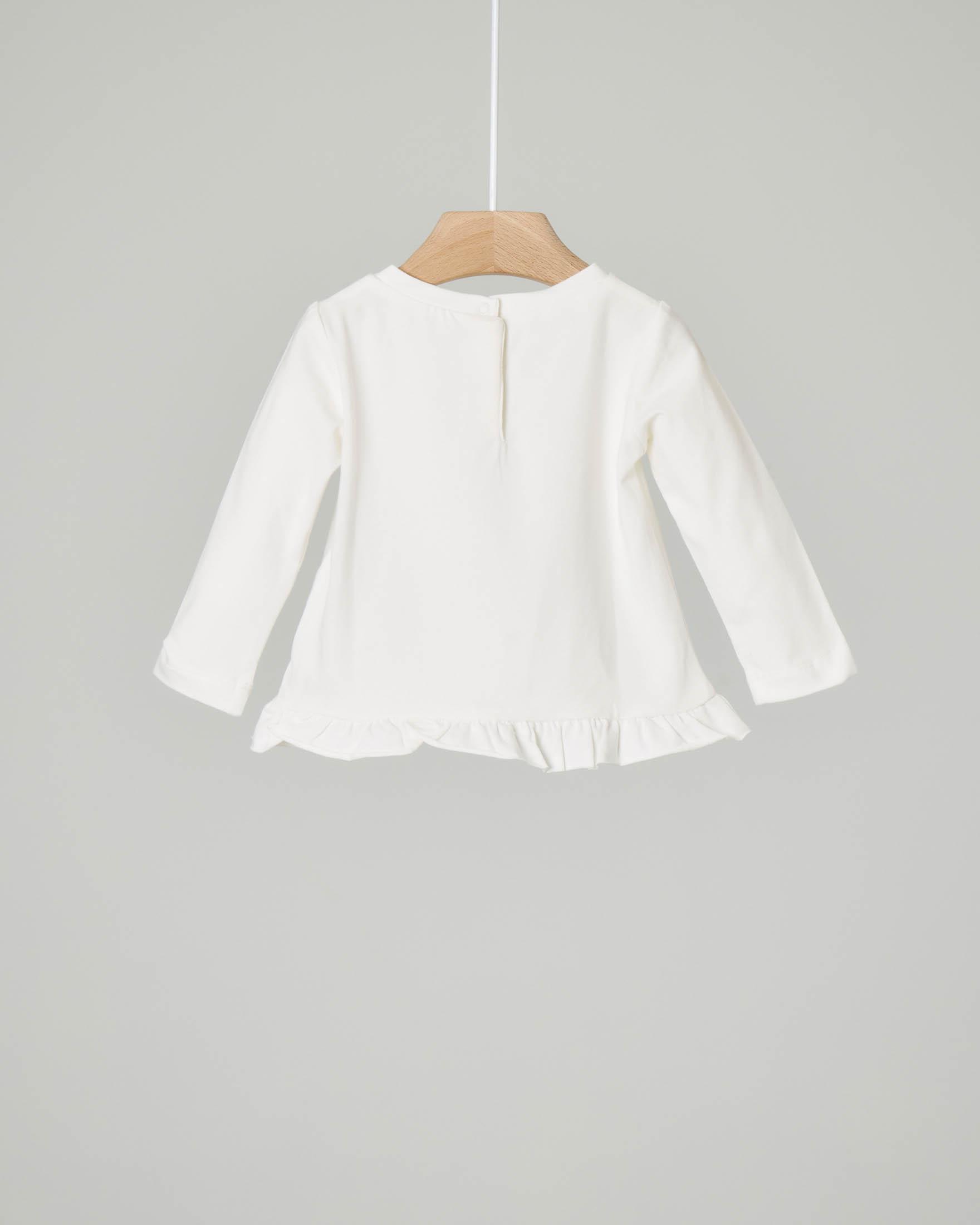 T-shirt bianca manica lunga con stampa casette 6-18 mesi